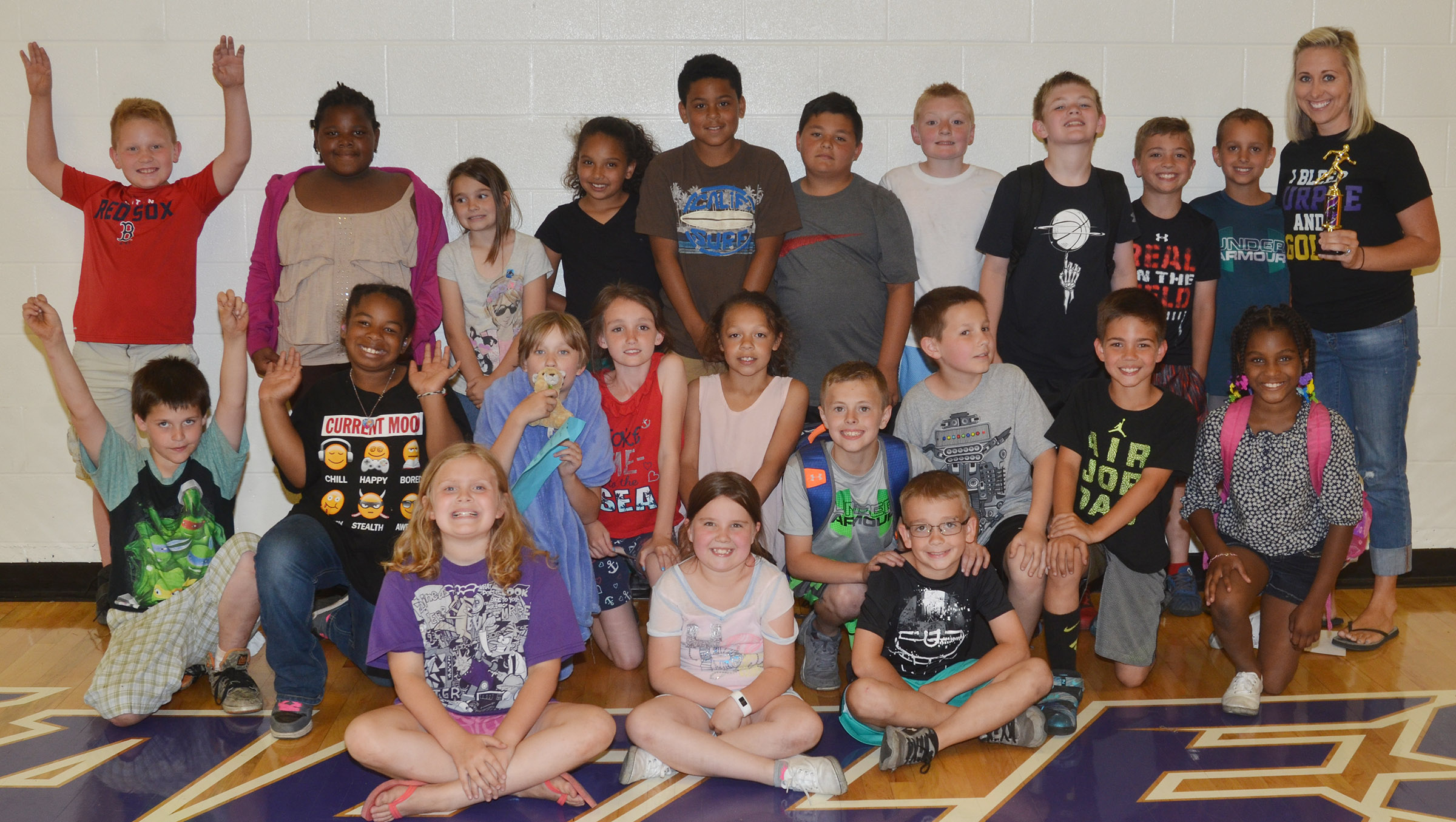 CES third-grade teacher Hannah Jones's class won the competition for their grade level.
