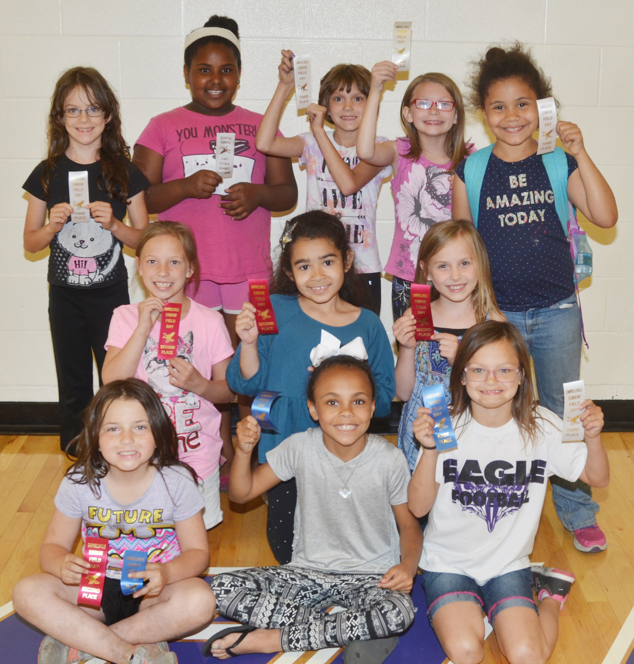 CES second-grade girls who were classroom winners in the 50-yard dash are, from left, front, Kendall Cruz, Braelyn Taylor and KayLee Lamer, first place winners. Second row, Alyah Meadows, Sophia Santos and Ava Ellis, second place winners. Back, Lilly Wise, Ajada Smith, Baylee Pike, Sammantha Wooley and Alex Wilson, third place winners. Absent from the photo are Analeigh Foster, a first place winner, and Yazlyn Sutton, a second place winner. Overall, Analeigh Foster was first, Kendall Cruz was second and KayLee Lamer was third.