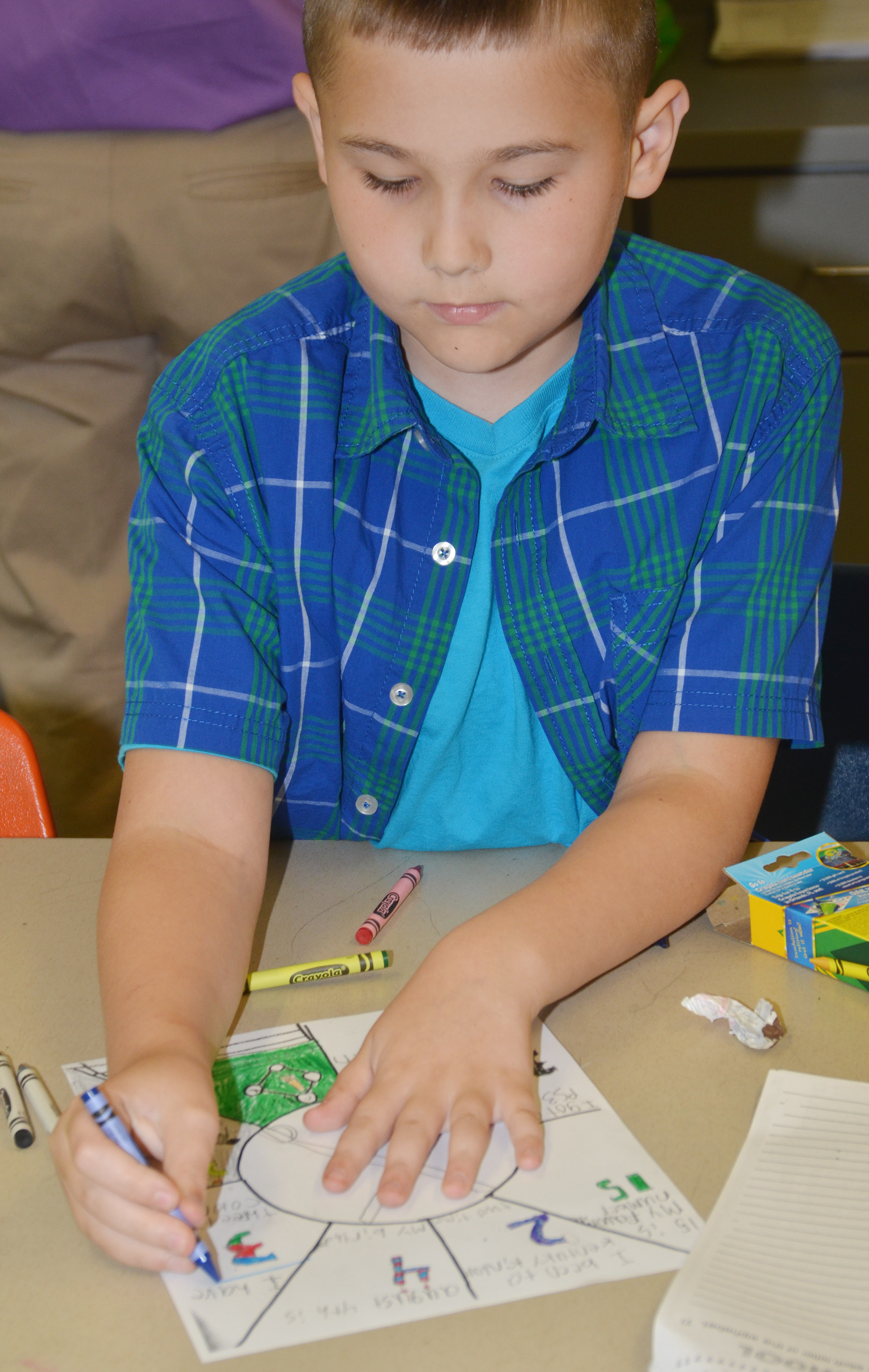 CES fifth-grader Michael Abel completes an assignment to help his teacher learn about him.