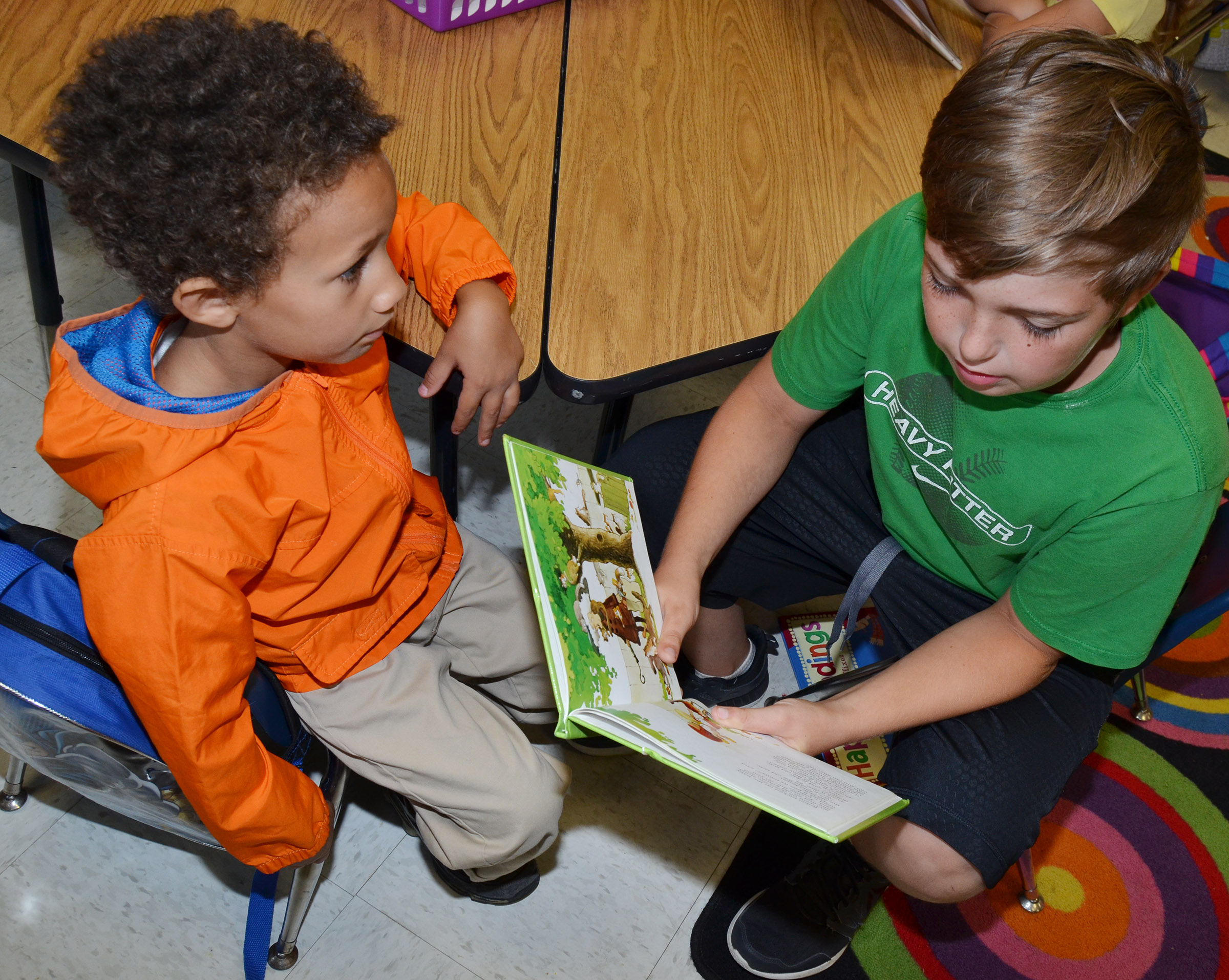 CES fifth-grader Skylar Wilhoite reads to kindergartener Jaxon Williams.