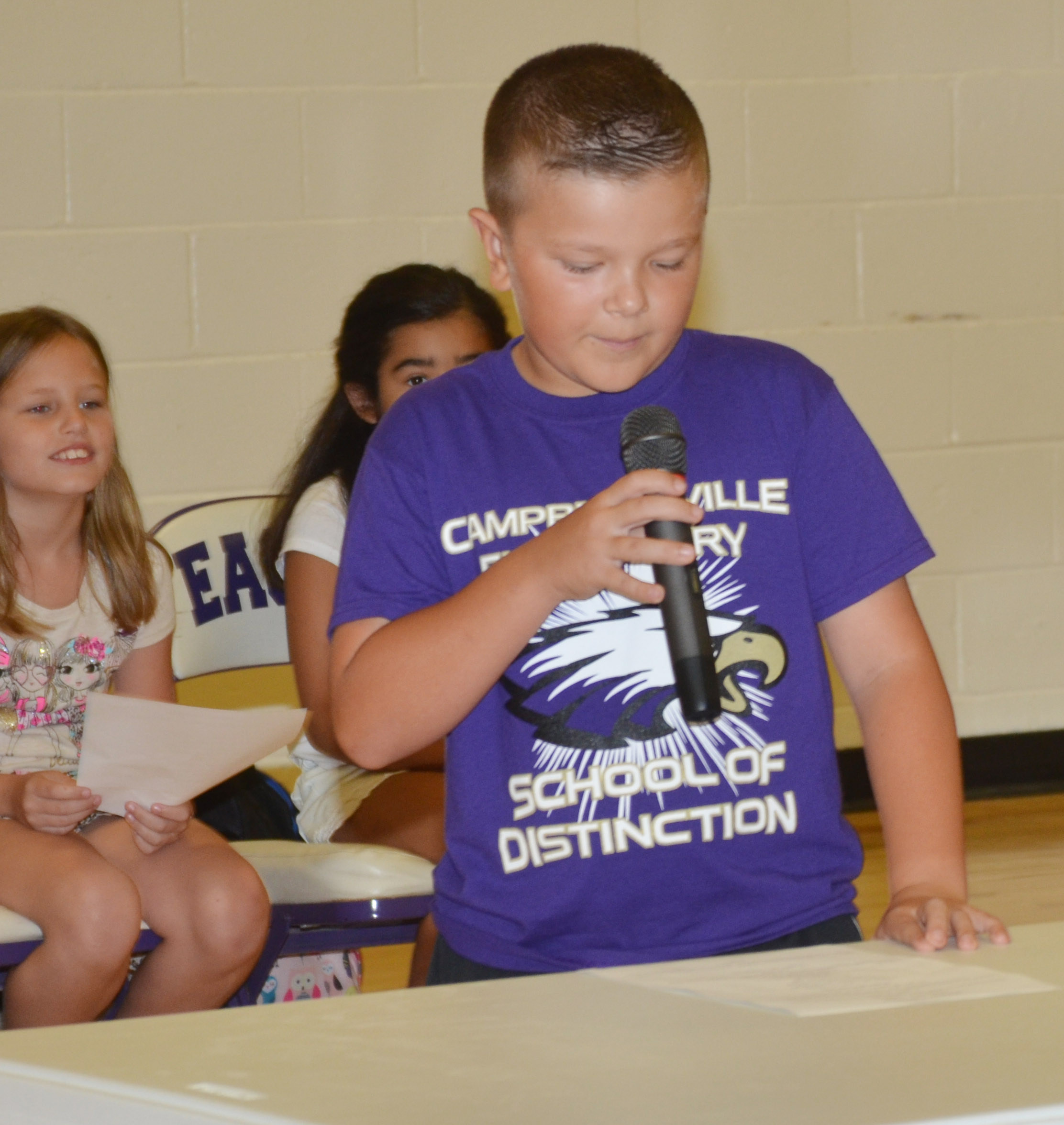 CES third-grader Cayton Lawhorn talks to his classmates.