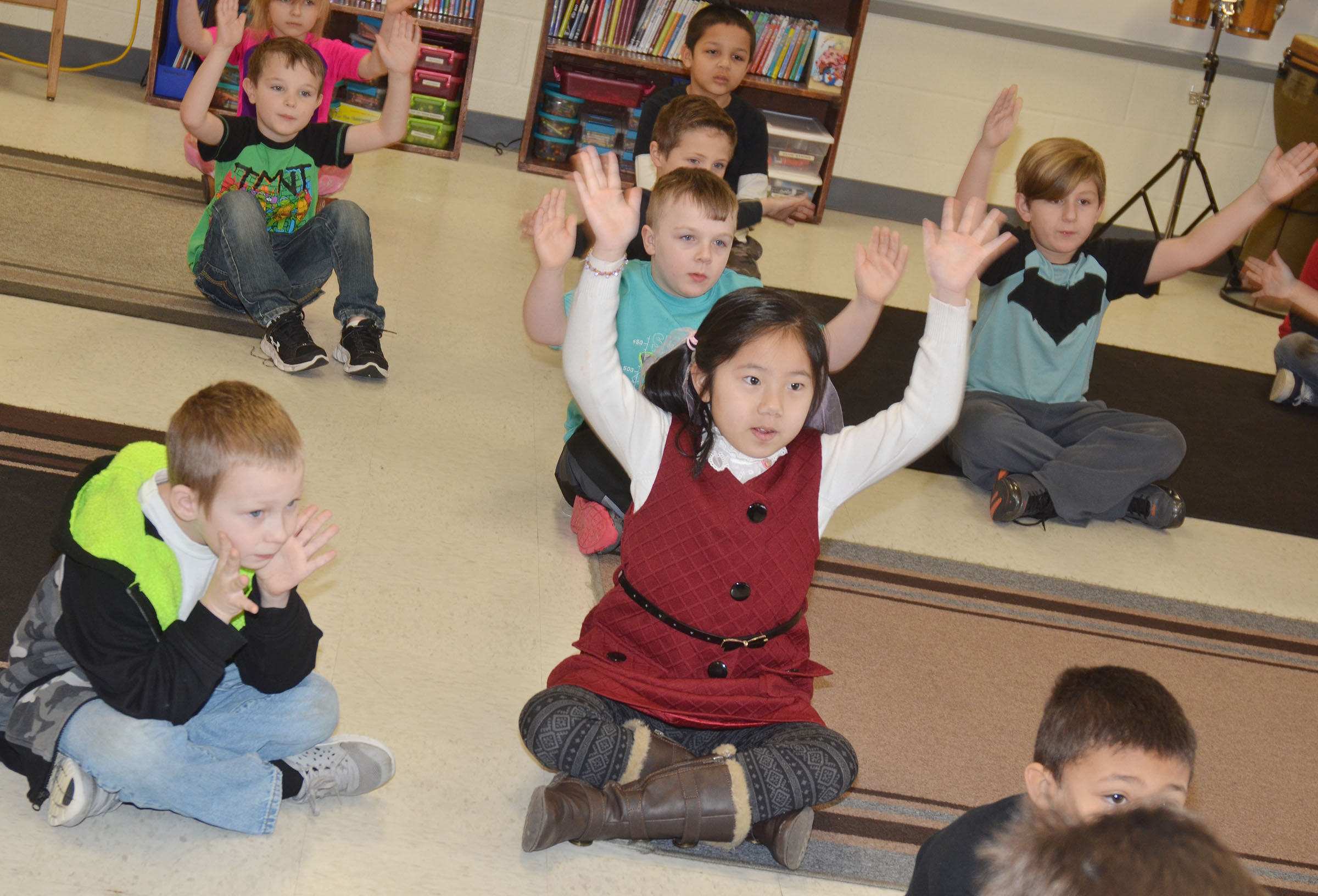 CES first-graders sing together.