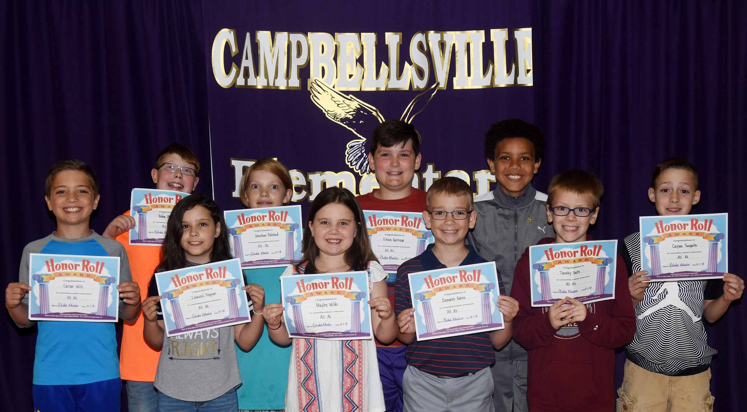 CES fourth-graders honored for being named to the All A honor roll for the first three nine-week grading period are, from left, front, Carson Mills, Zehavan Negron, Maylee Wilds, Cameron Estes, Connor Coots and Caysen Tungate. Back, Aidan Phillips, Jonathan Releford, Ethan Garrison and Christian Hart. Absent from the photo are Kennedy Griffiths and Vivian York.
