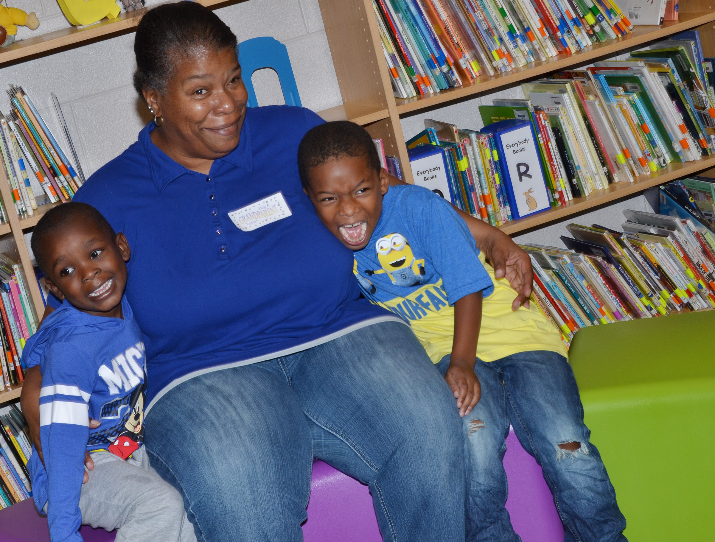 CES preschool student Xavien Smith, at left, and Kaiyden Vancleave smile for a photo with their grandmother.