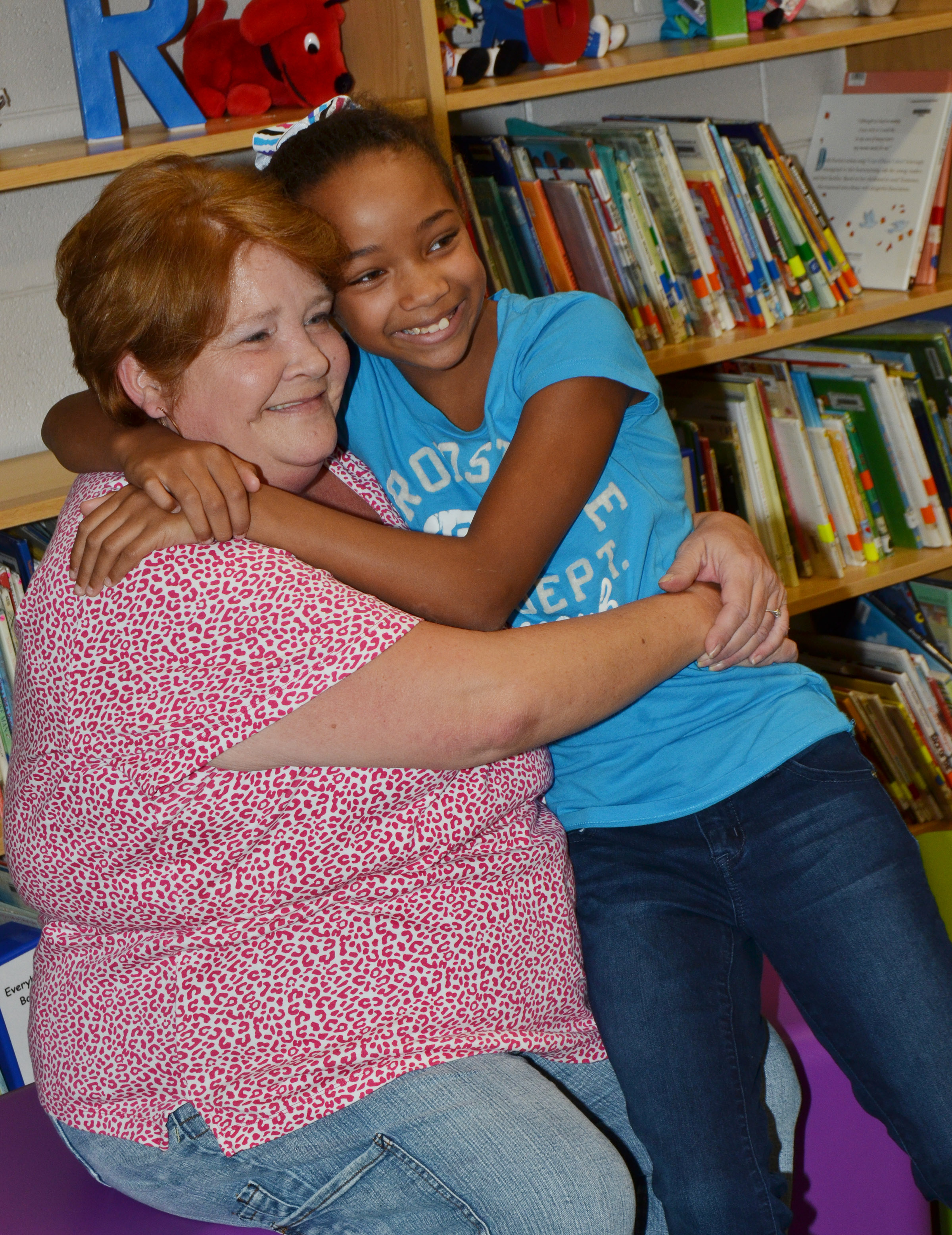 CES fifth-grader Lillian Sears hugs her grandmother.
