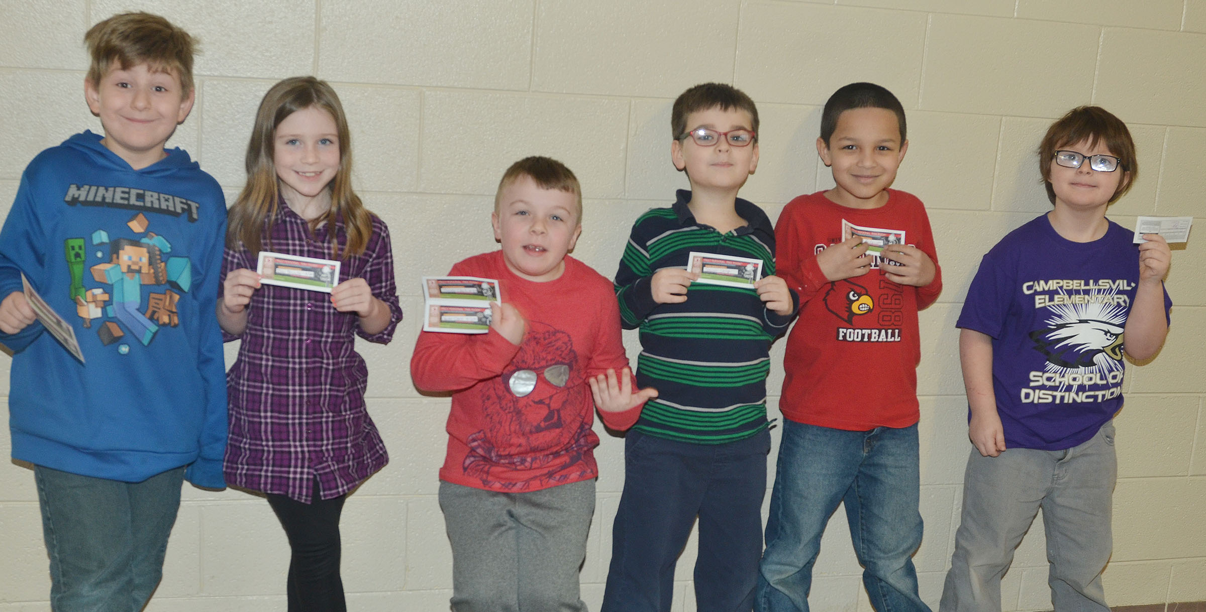 Greer's students who recently received free pizza coupons for accumulating at least five points include, from left, Tommy Caswell, Izzy Brunelle, Hunter Clark, Sawyer Lange, Makyian Bridgewater and Caleb Ortiz.