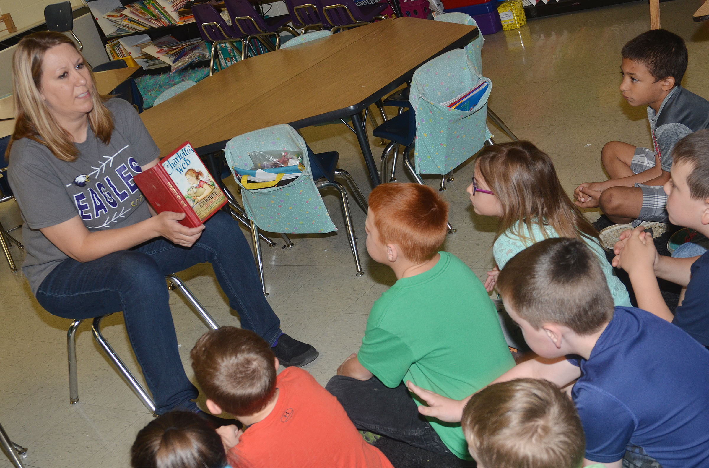 "CES first-grade teacher Amanda Greer reads ""Charlotte's Web"" to her students."
