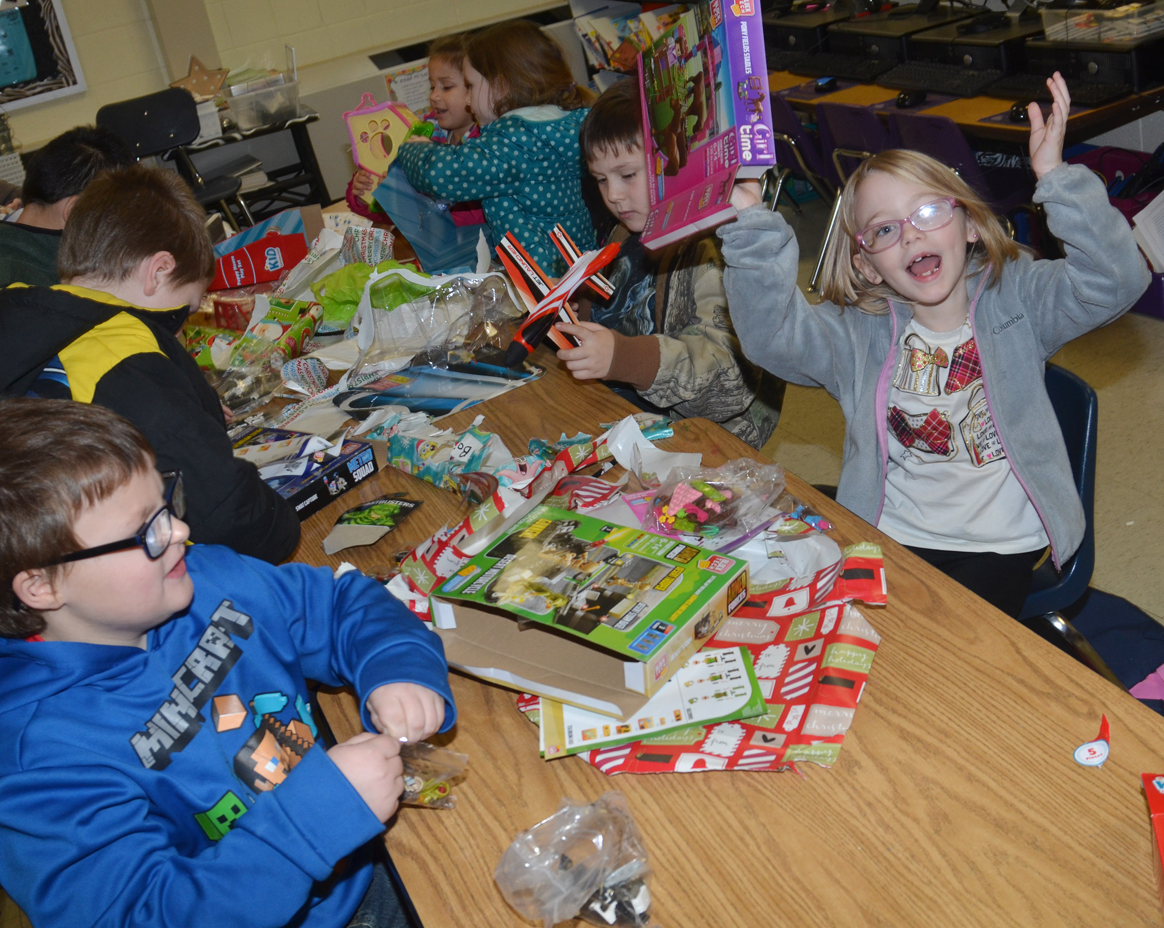 CES first-grader Madelyn Brunelle is excited about the gift she received.