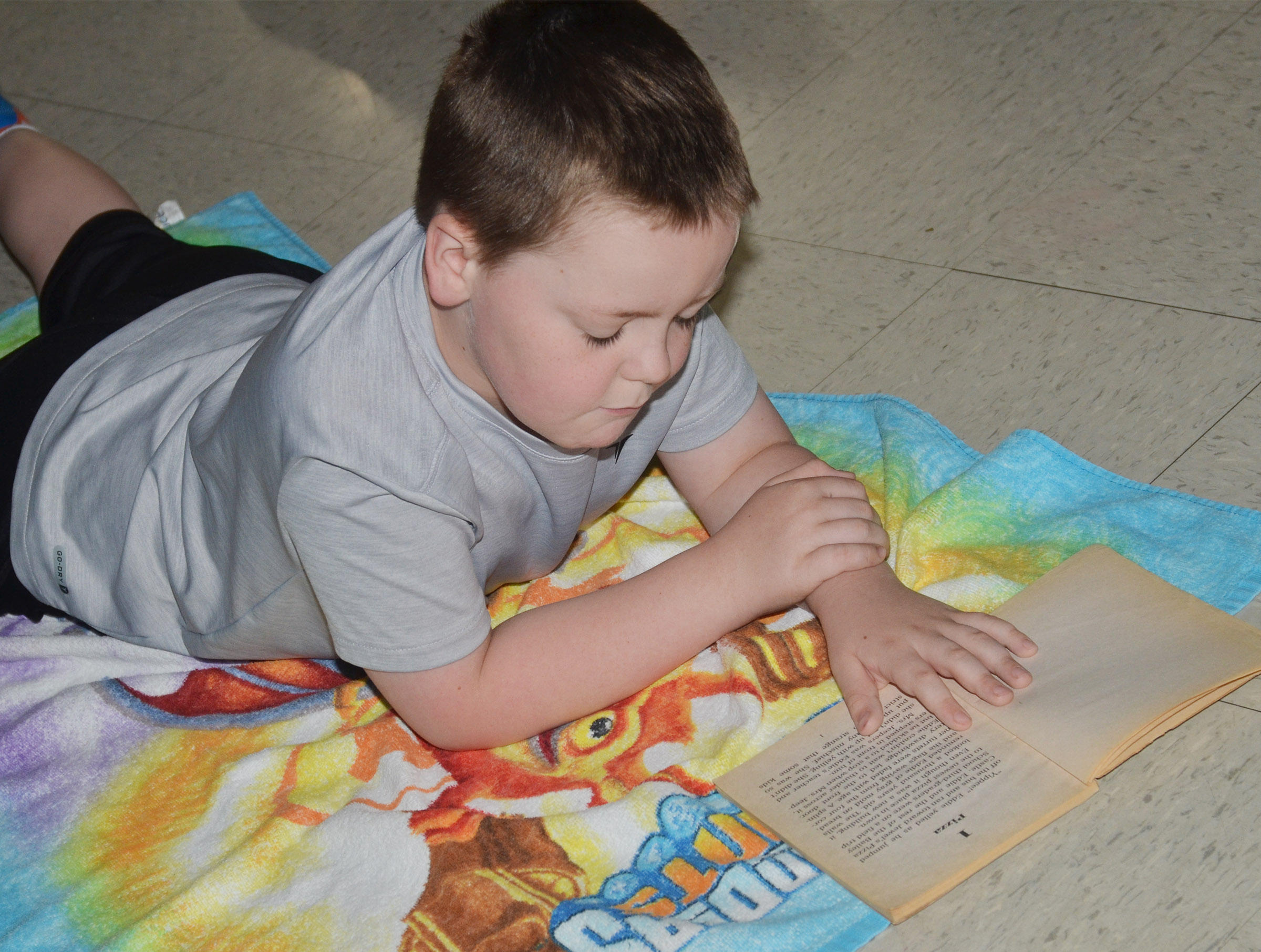 CES first-grader Eric Epperson reads.