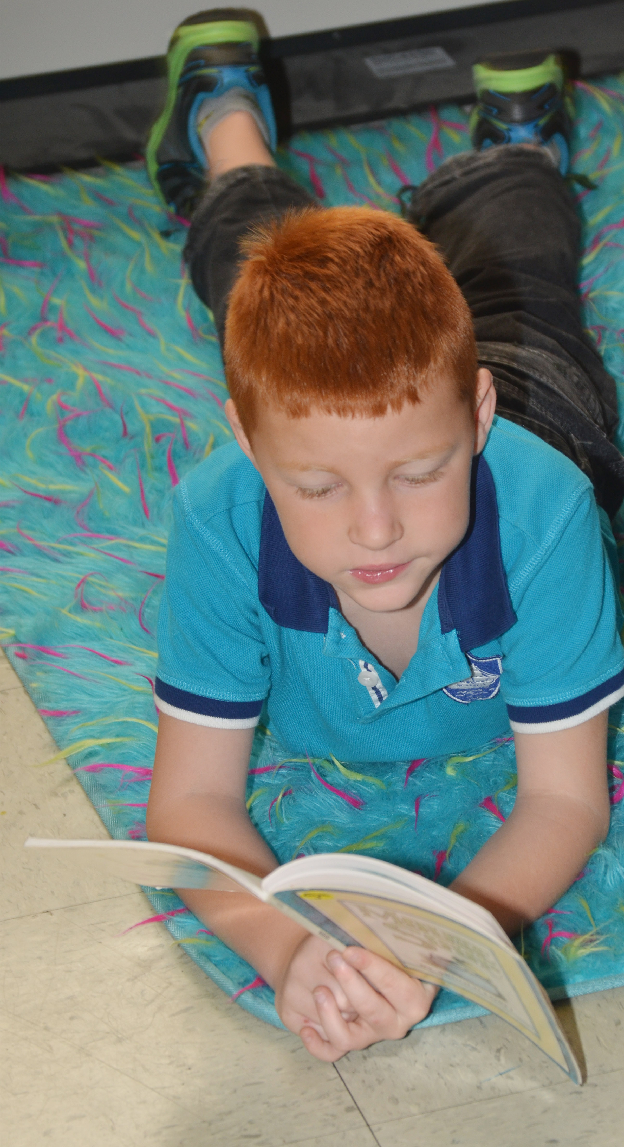 CES first-grader Carter Wethington reads.