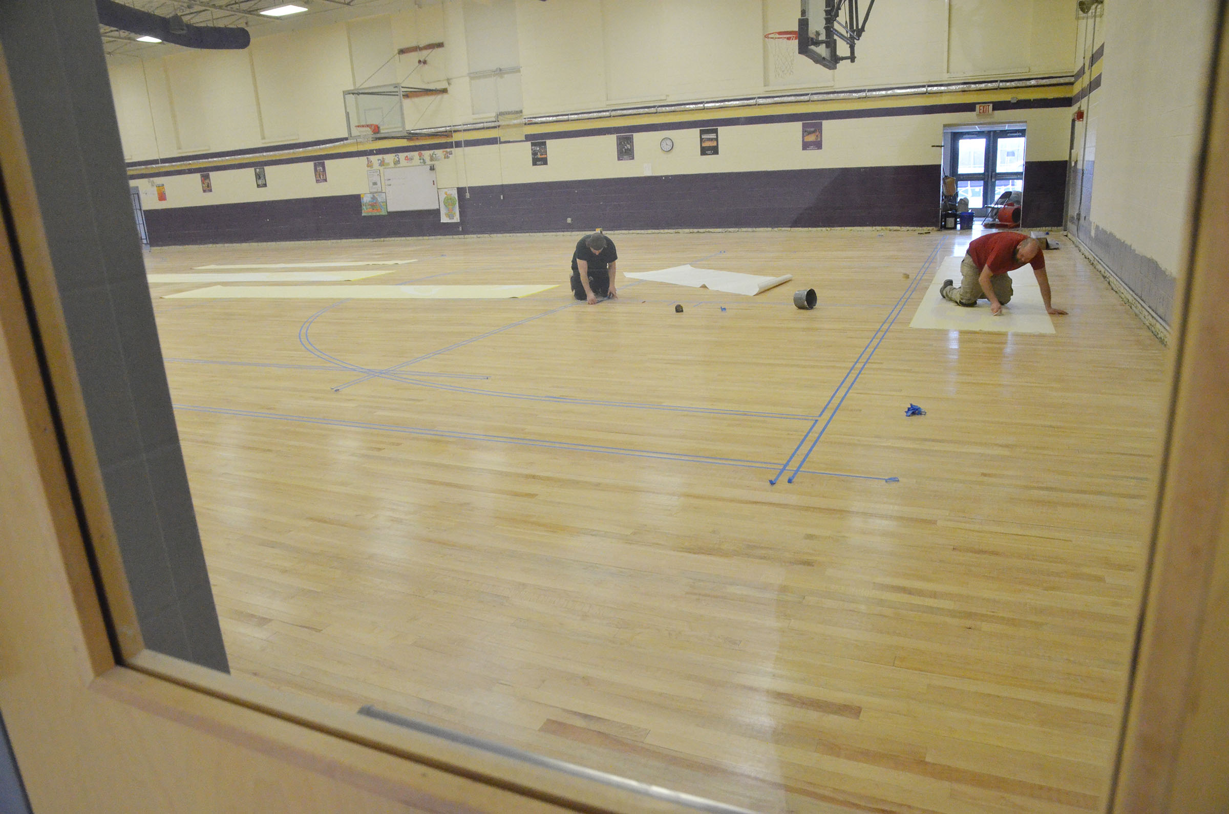 Progress is being made on the renovation of the CES gym floor.
