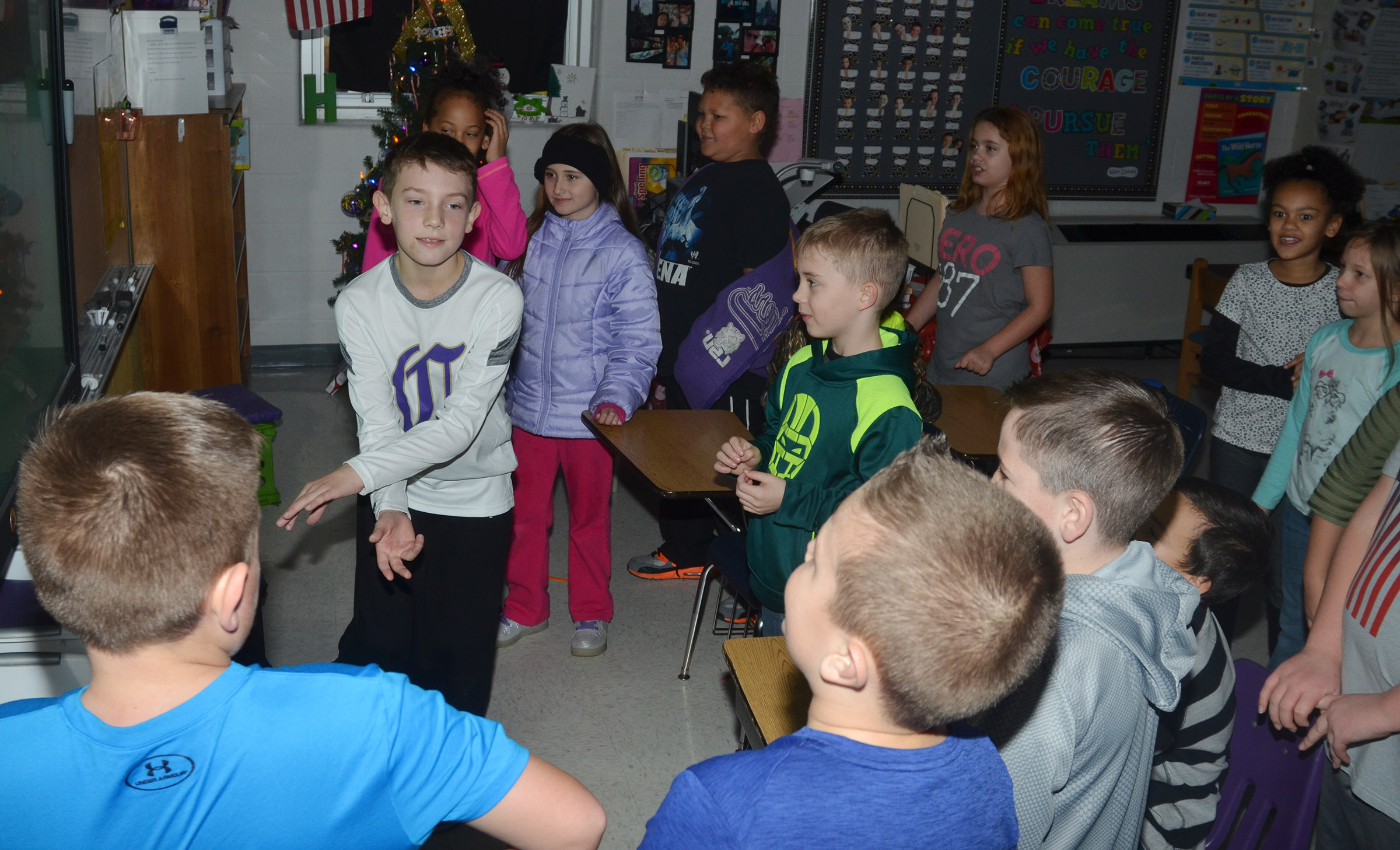 CES third-graders have fun dancing during their disco party.
