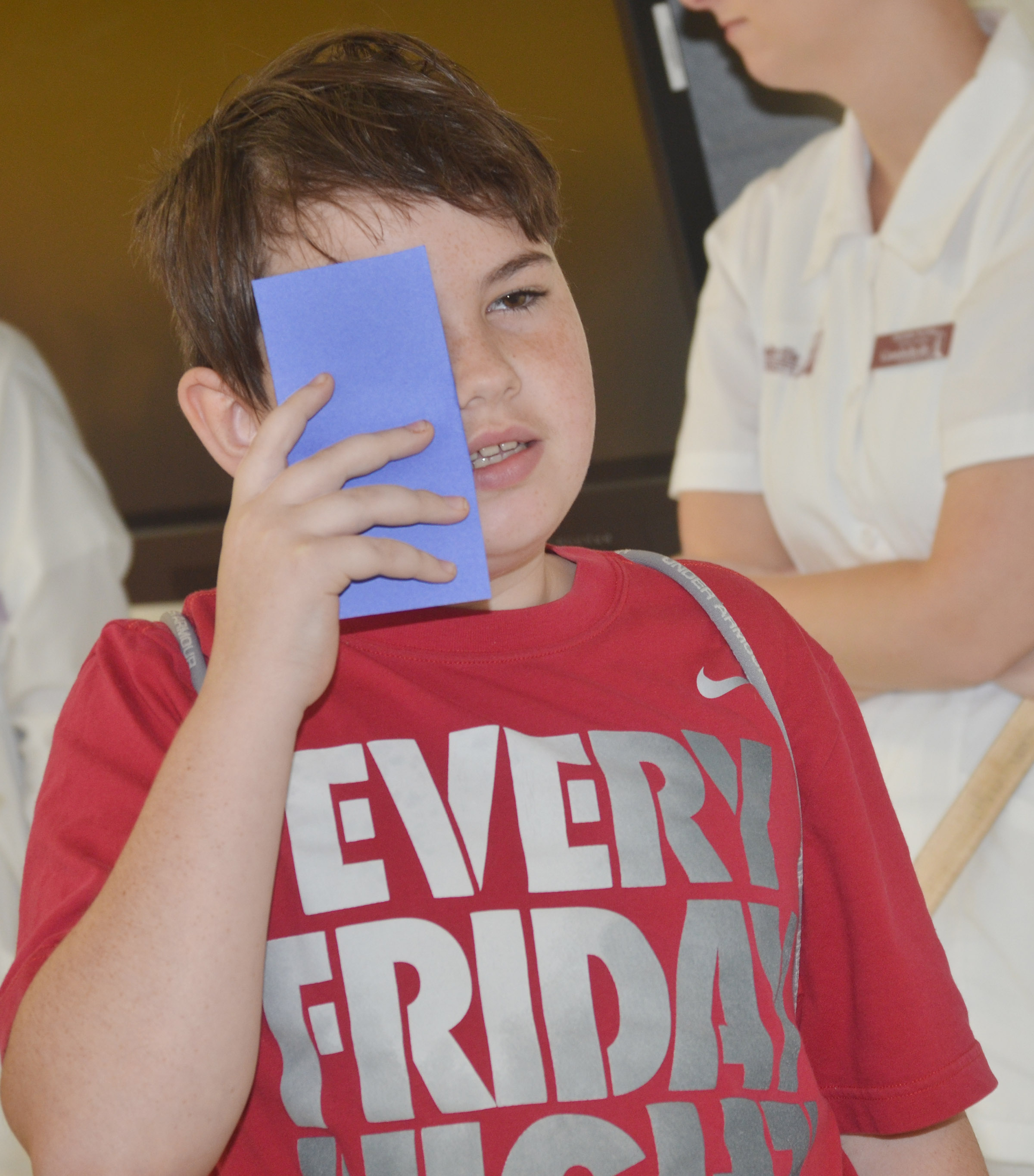 CES fifth-grader Cody Agee undergoes an eye exam.