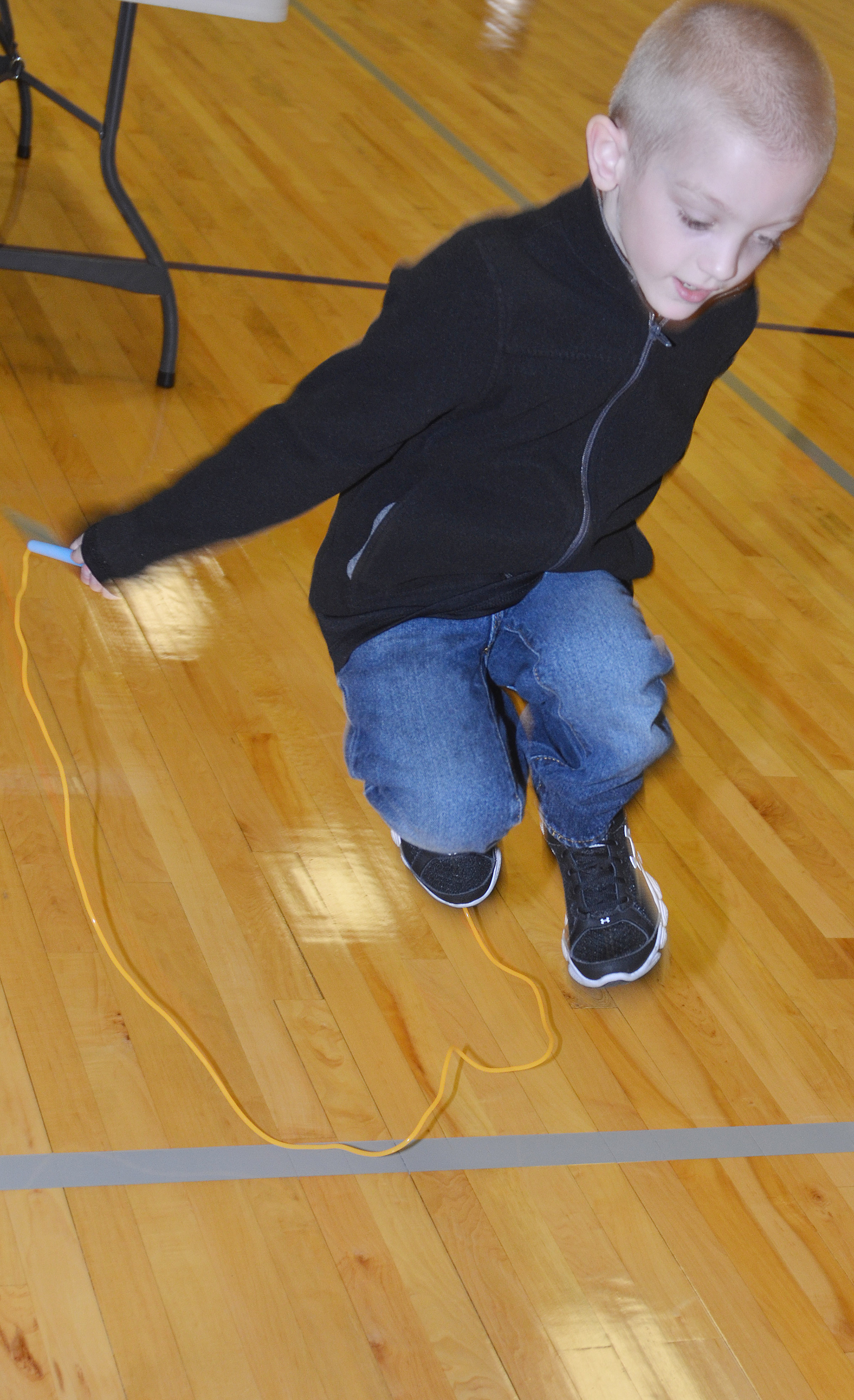 CES second-grader Evan Cundiff jumps rope.