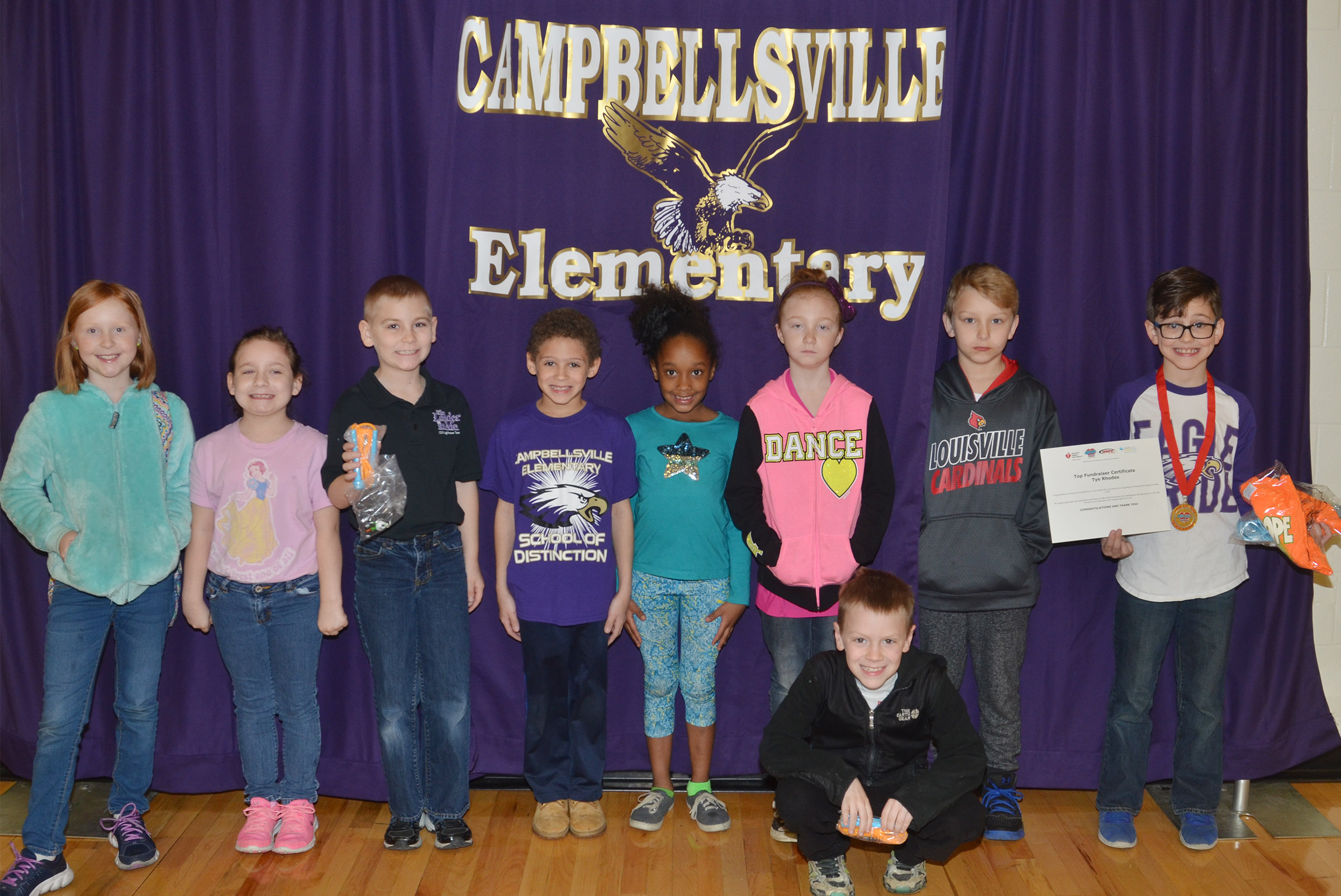 CES students participating in this year's Jump Rope for Heart fundraiser are, in front, third-grader Connor Coots. Back, from left, third-graders Nora Harris and Aliyah Burton, second-graders Joseph Greer, Trever Lasley and Lashonda Wilkinson, third-grader Savannah Wethington and second-graders Mason Davis and Tye Rhodes. Absent from the photo are second-graders Jaylin Christie and Evan Cundiff and third-grader Chyanne Christie.