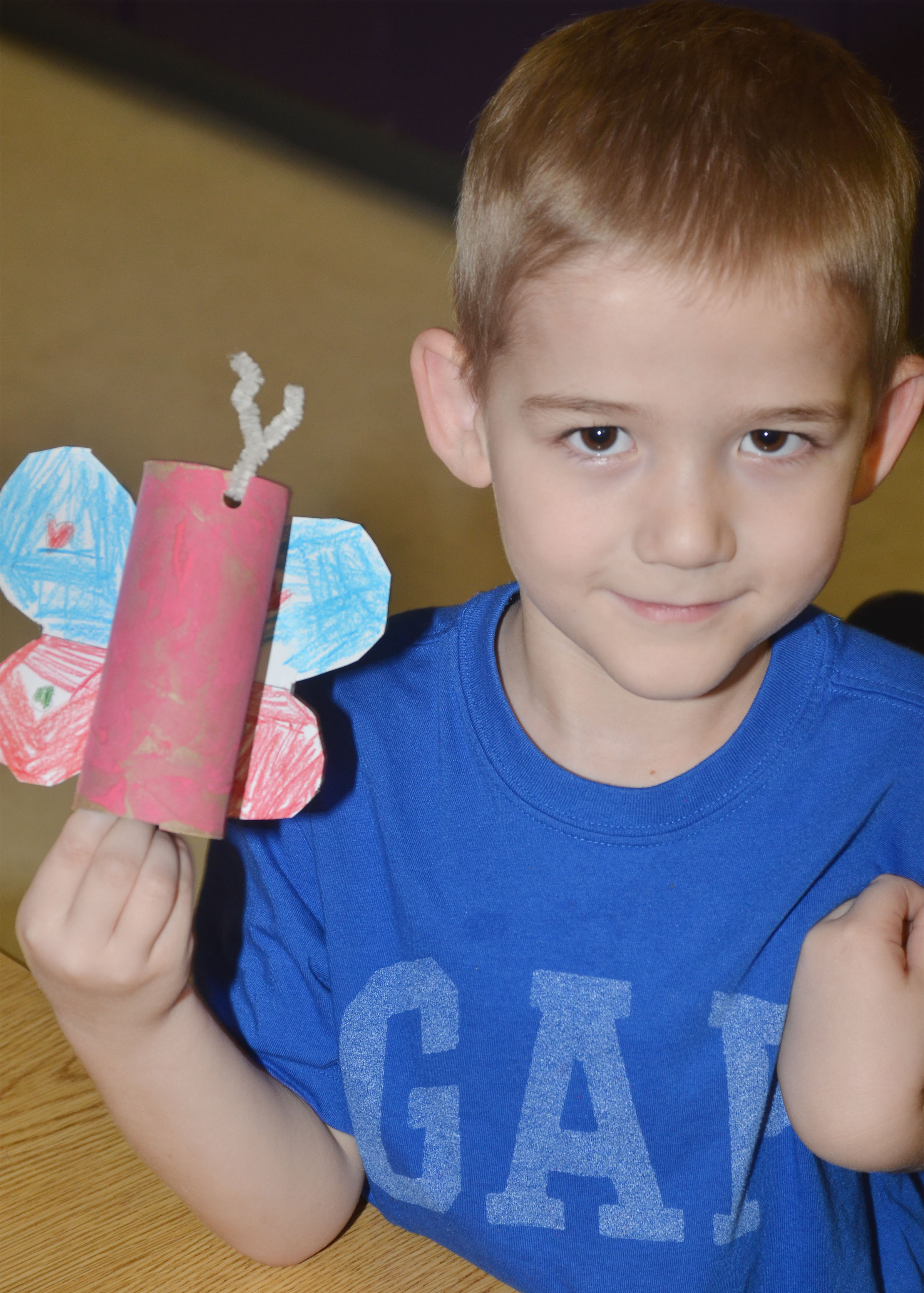 CES kindergartener Mason Edwards holds his butterfly.