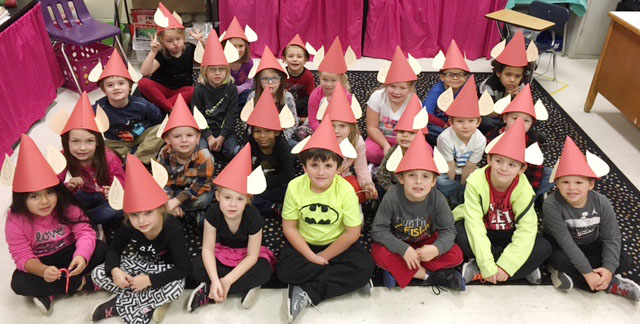 "CES kindergarteners in Leanna Cundiff's class made elf hats to wear as they perform in their upcoming Christmas musical, entitled ""Bob Humbug, the Christmas Grump,"" which will be on Tuesday, Dec. 13, at 5:30 p.m. in the CES gym."