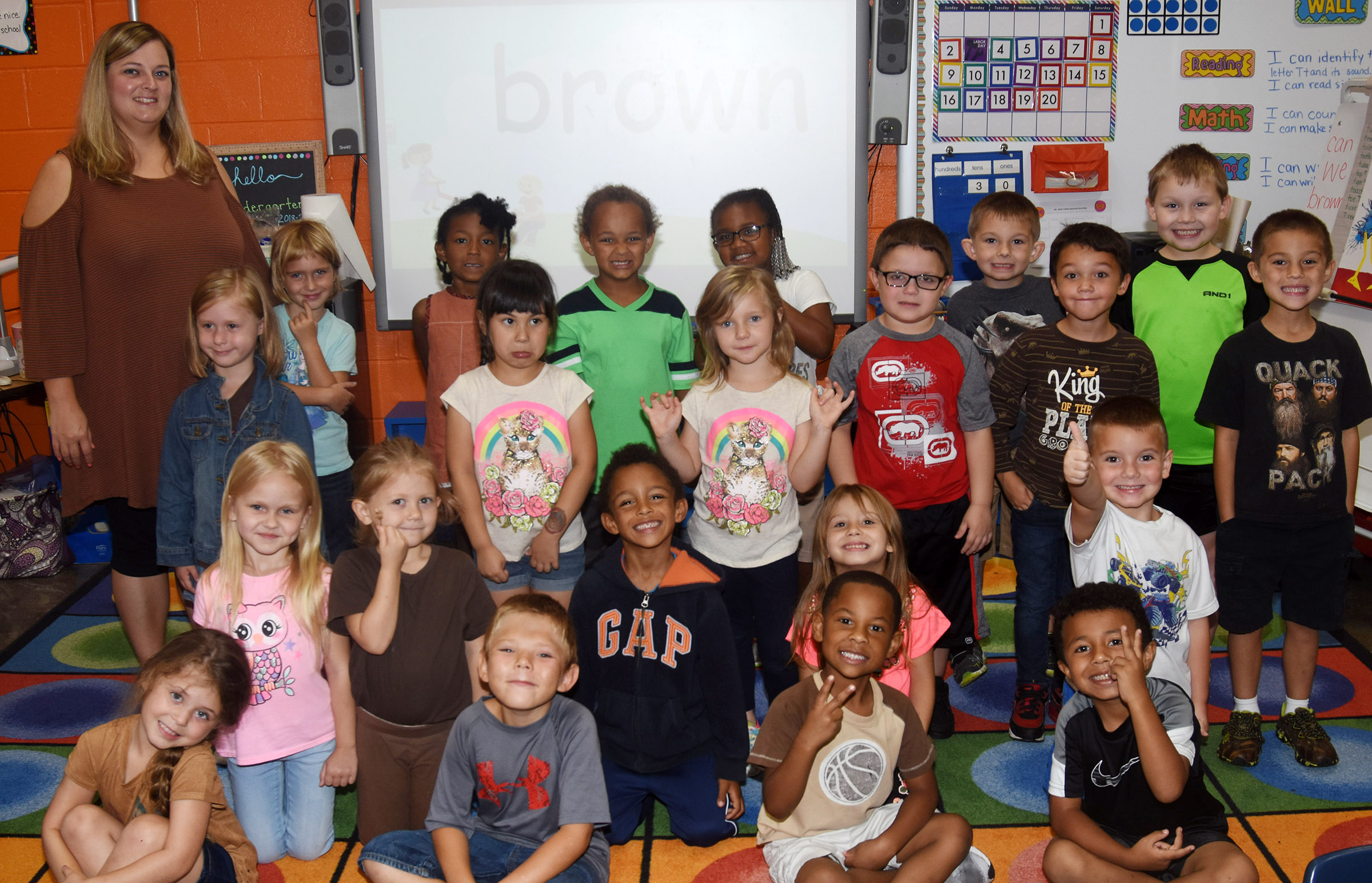 CES kindergarteners in Kimberly Clark's class wear brown for Color Week.