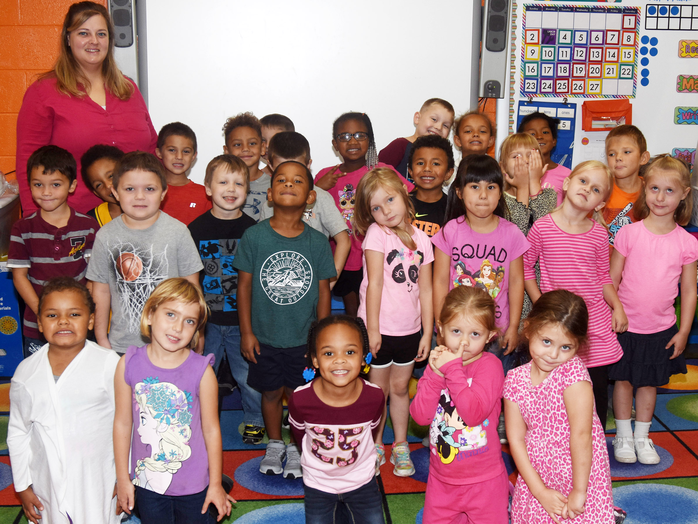 CES kindergarteners in Kimberly Clark's class wear pink for Color Week.