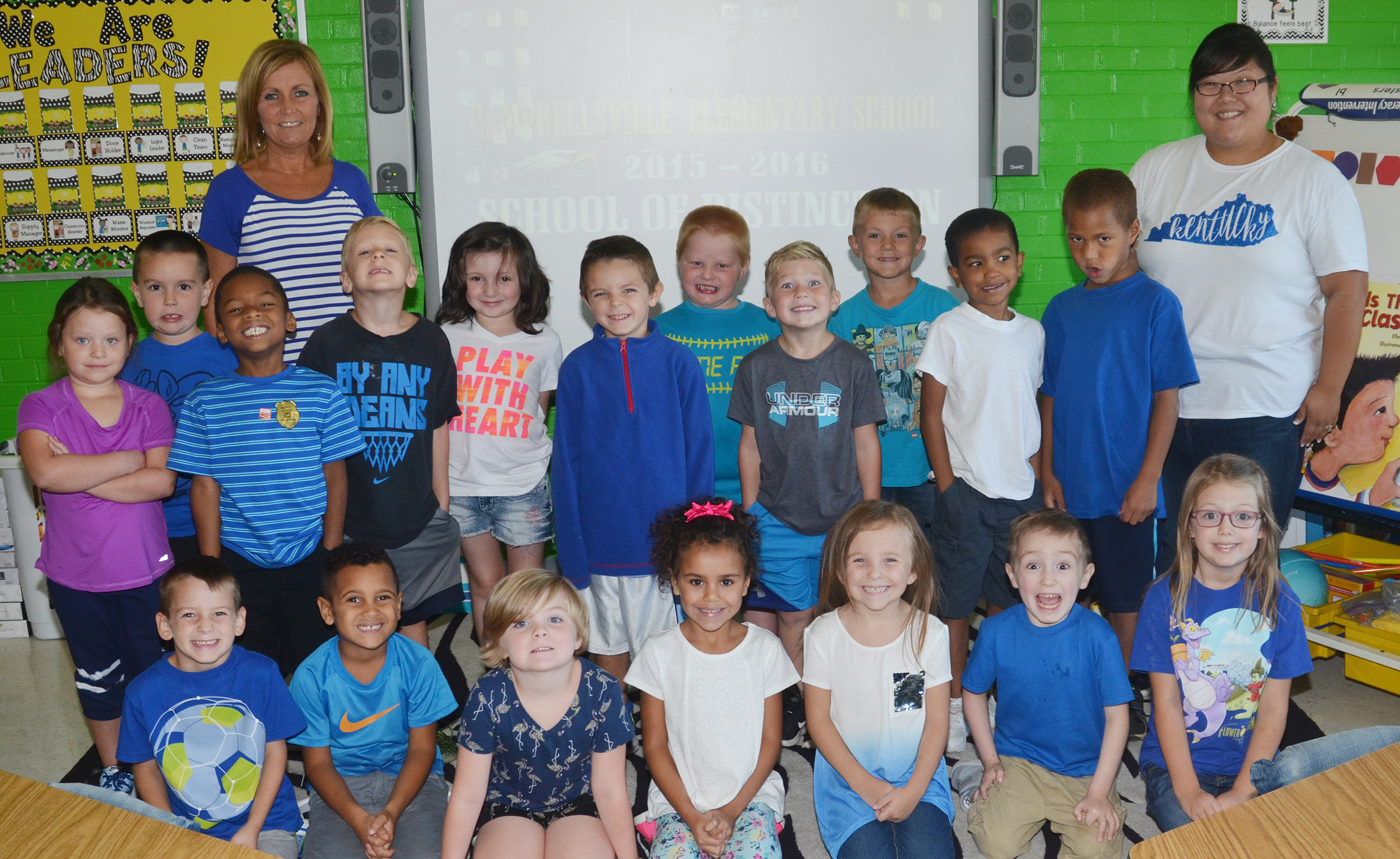 CES kindergarteners in Lisa Wiseman's class wear blue for Color Week.