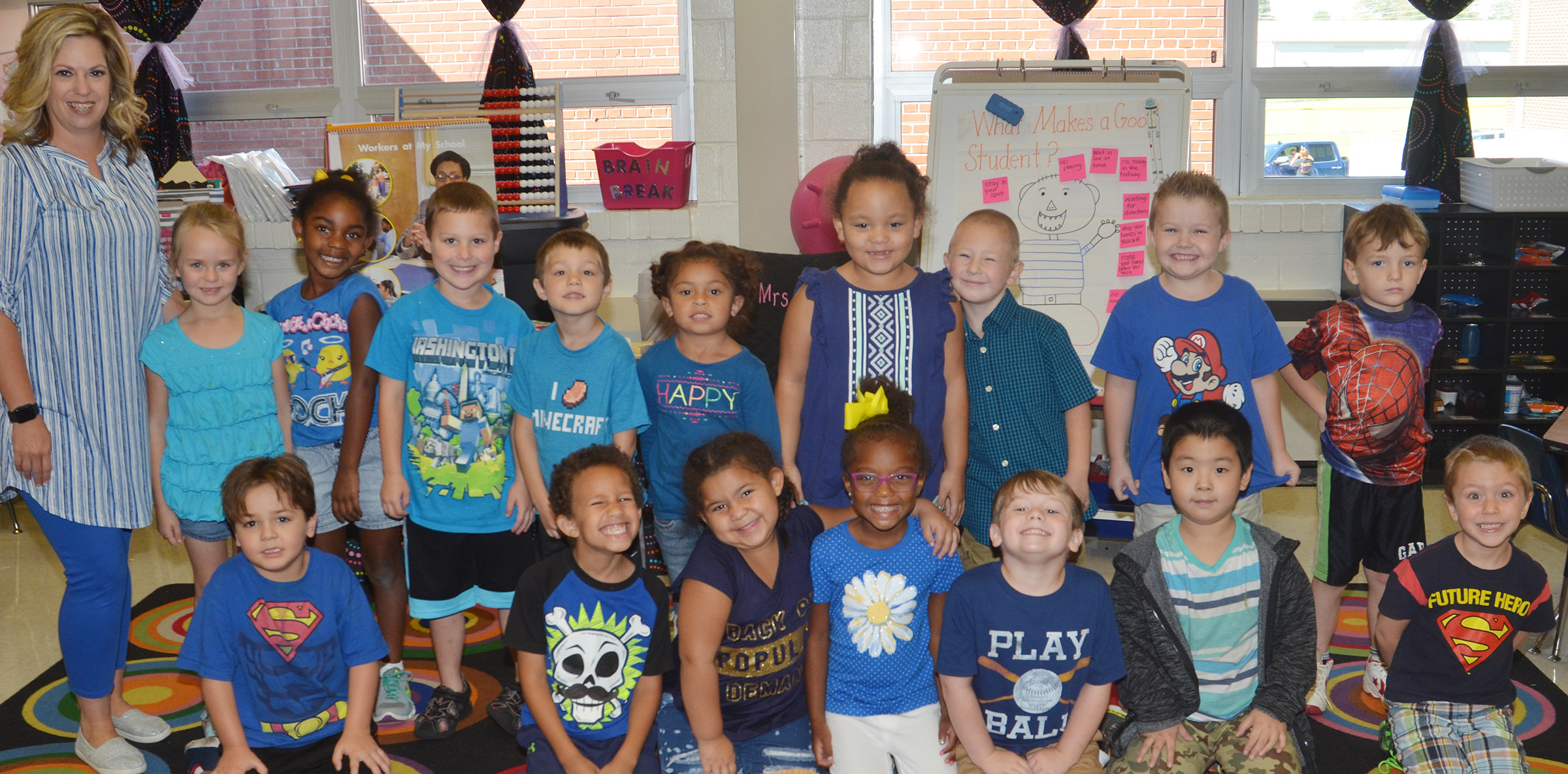 CES kindergarteners in Nikki Price's class wear blue for Color Week.