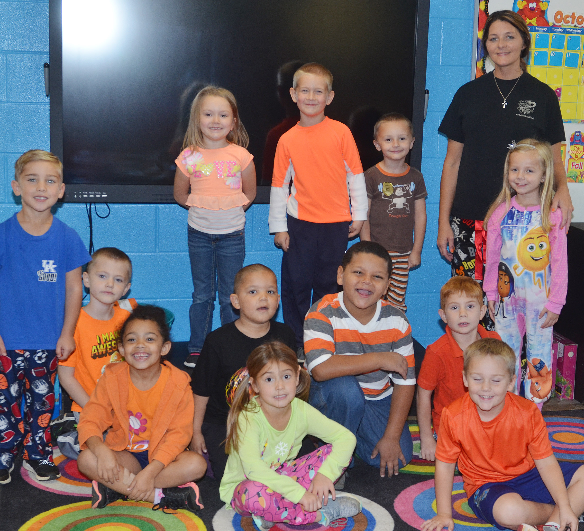 CES kindergarteners in Leanna Cundiff's class wear orange for Color Week.