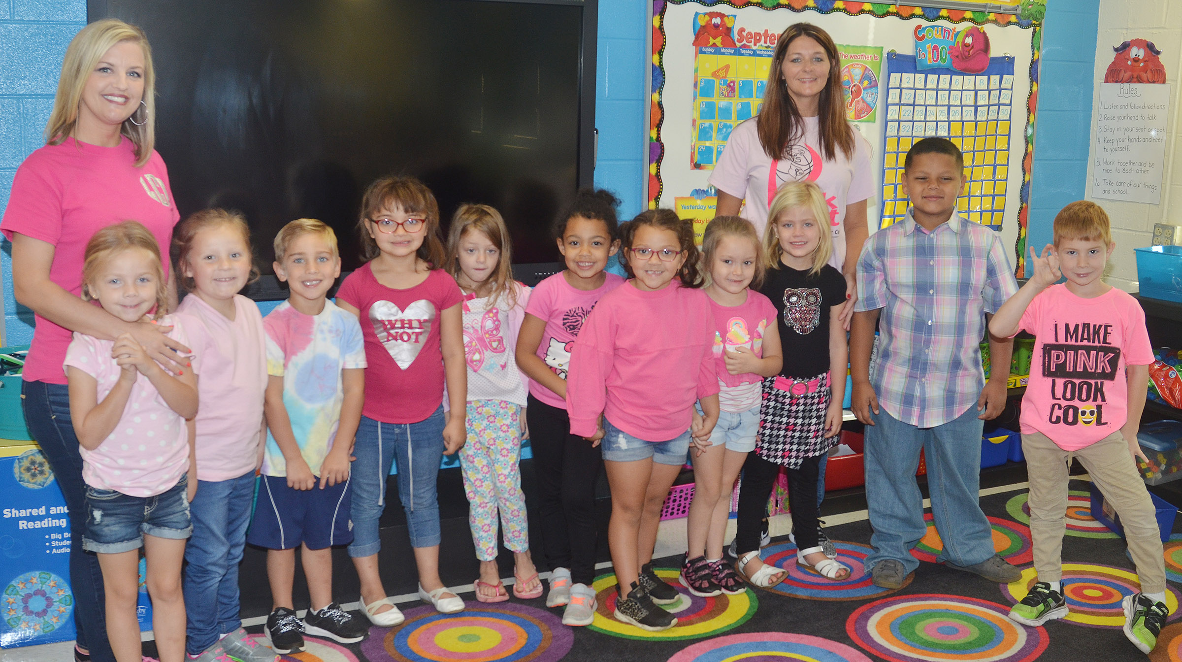 CES kindergarteners in Leanna Cundiff's class wear pink for Color Week.