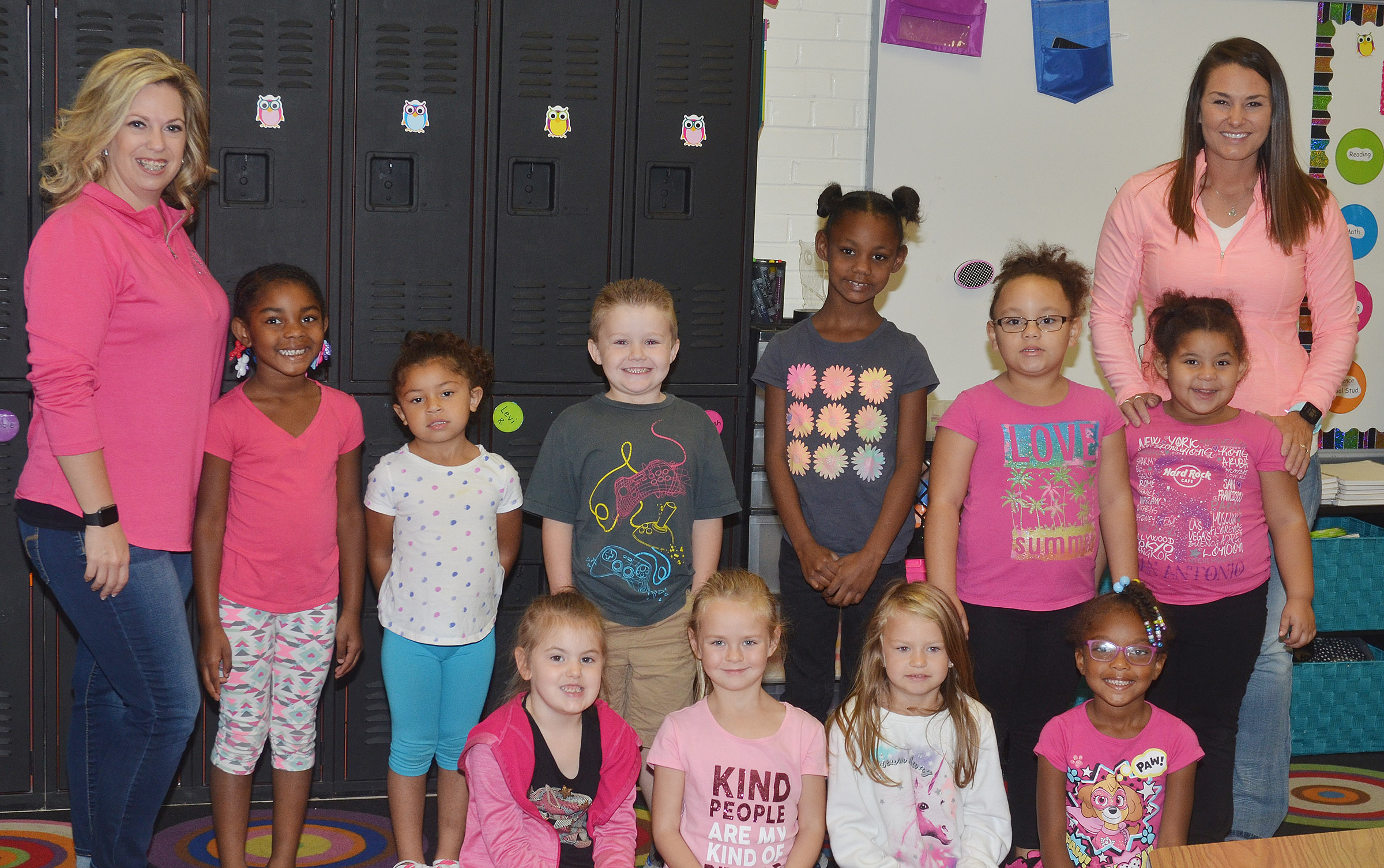 CES kindergarteners in Nikki Price's class wear pink for Color Week.