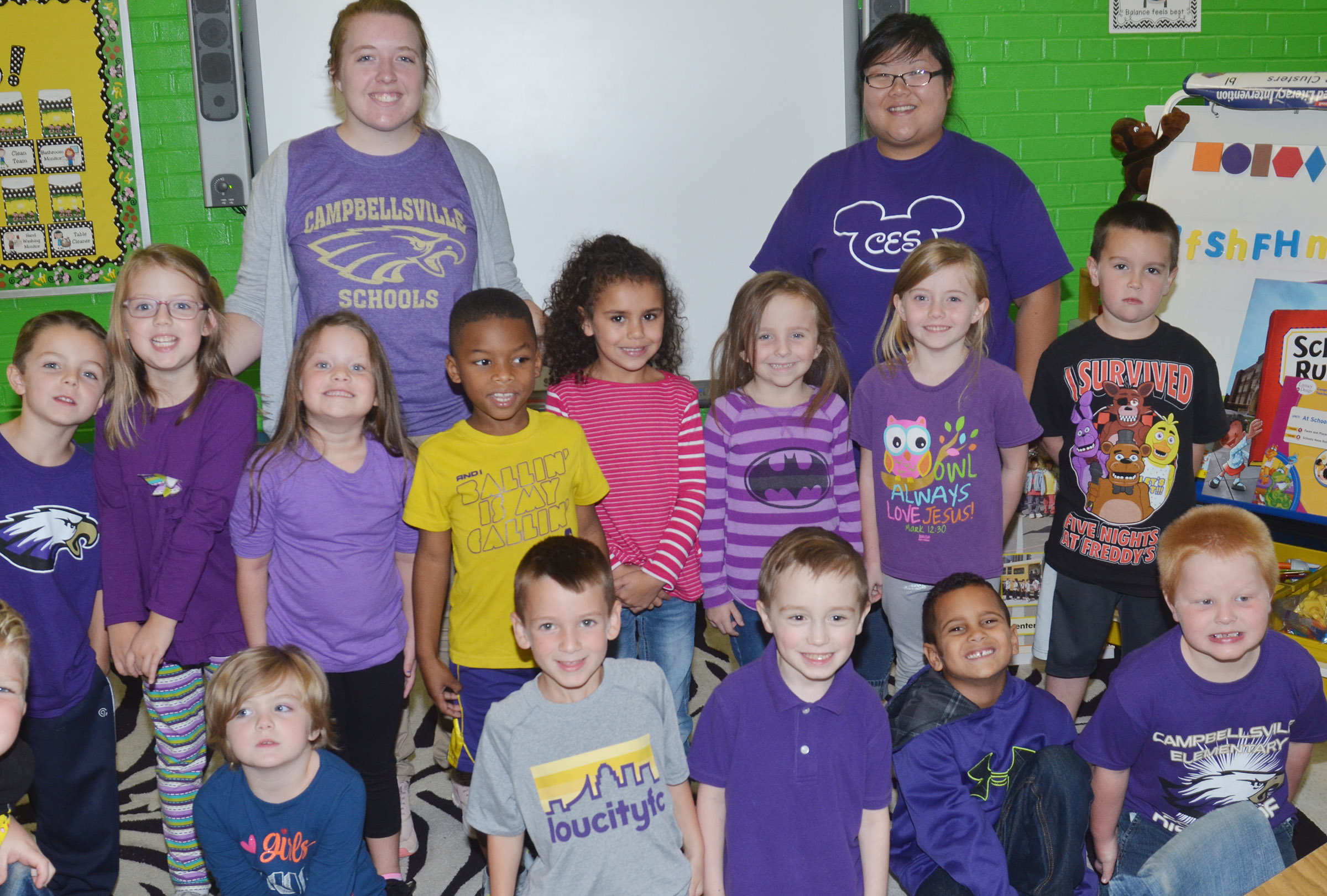 CES kindergarteners in Lisa Wiseman's class wear purple for Color Week.