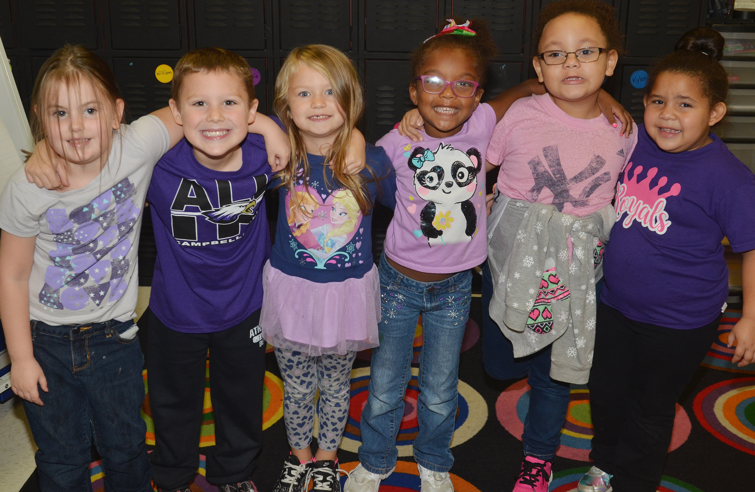 CES kindergarteners in Nikki Price's class wear purple for Color Week.