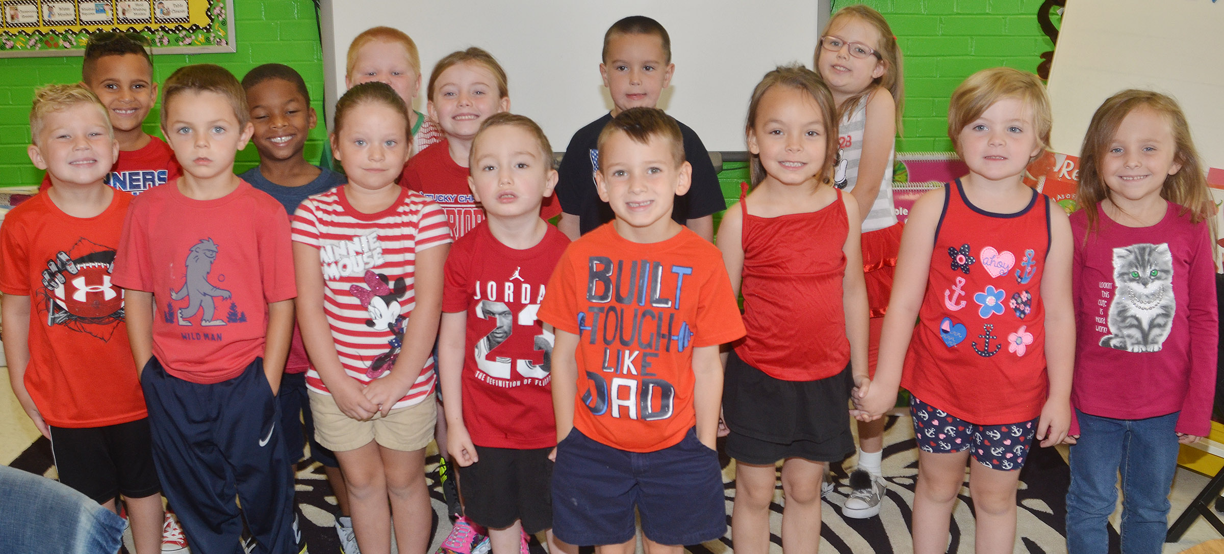 CES kindergarteners in Lisa Wiseman's class wear red for Color Week.