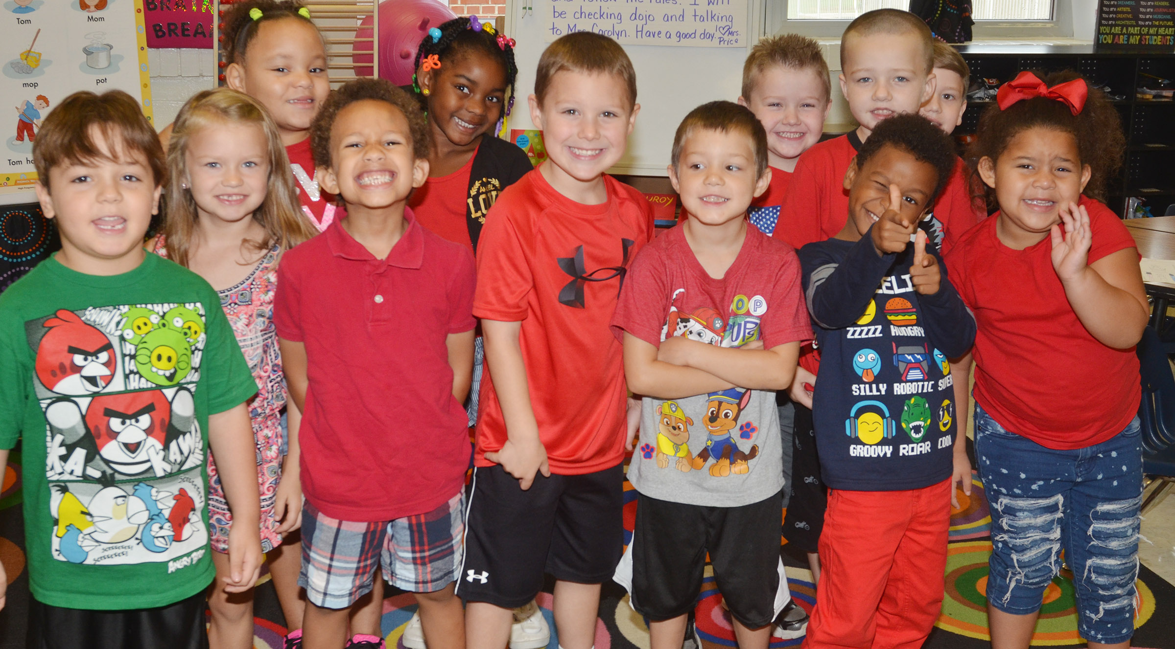 CES kindergarteners in Nikki Price's class wear red for Color Week.