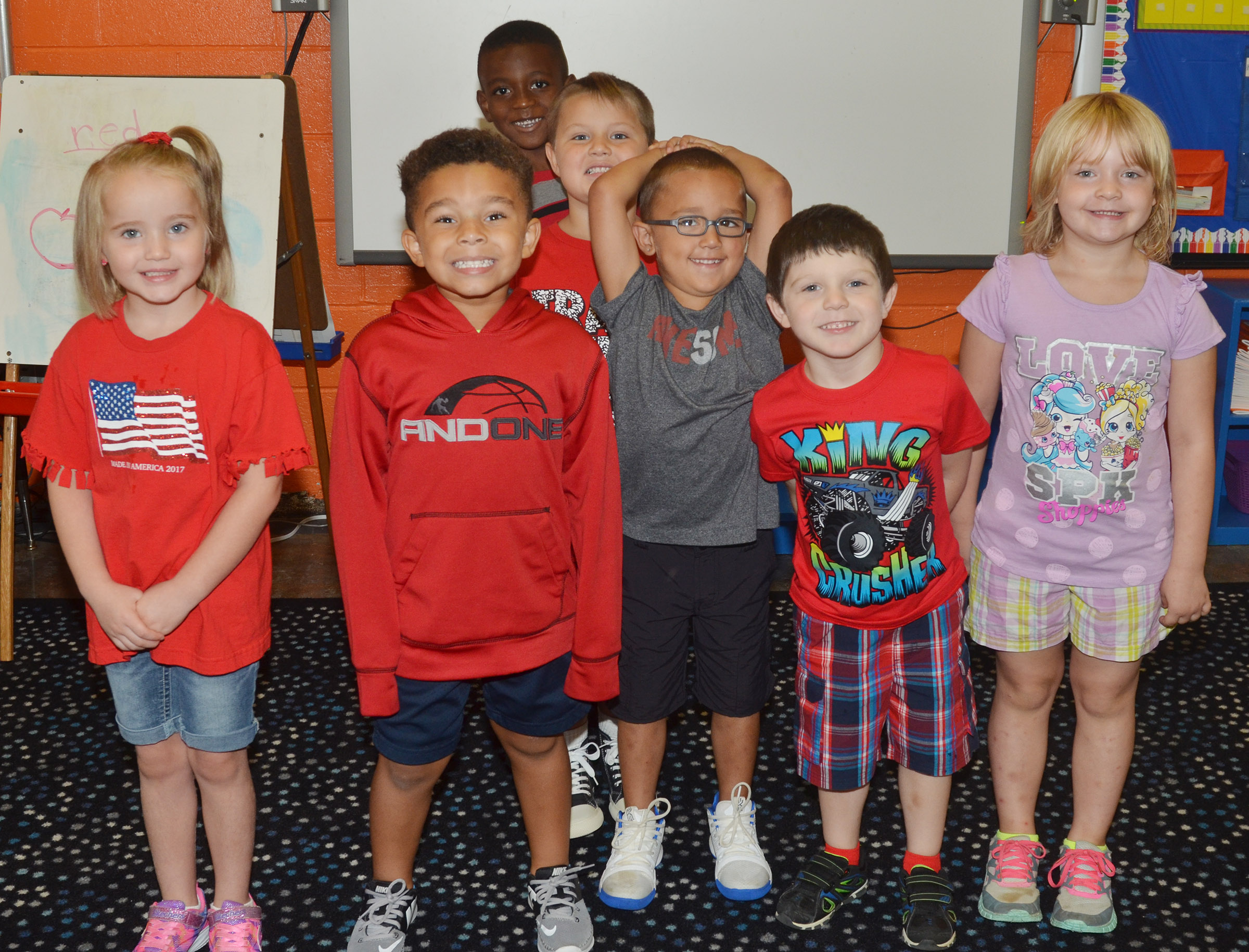 CES kindergarteners in Kimberly Clark's class wear red for Color Week.
