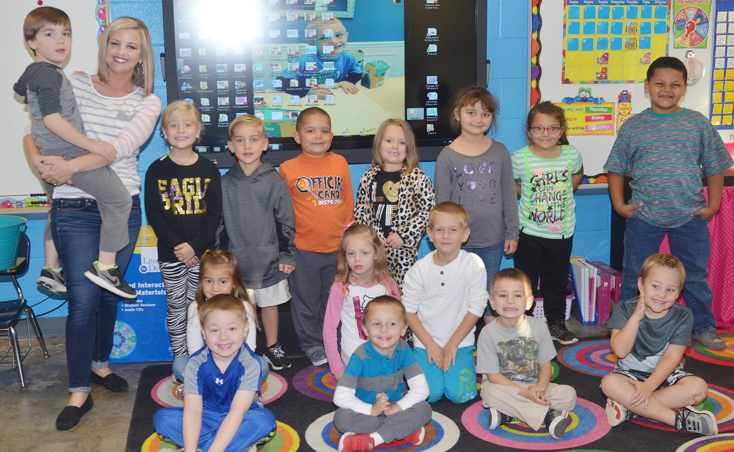 CES kindergarteners in Leanna Cundiff's class wear white and gray for Color Week.