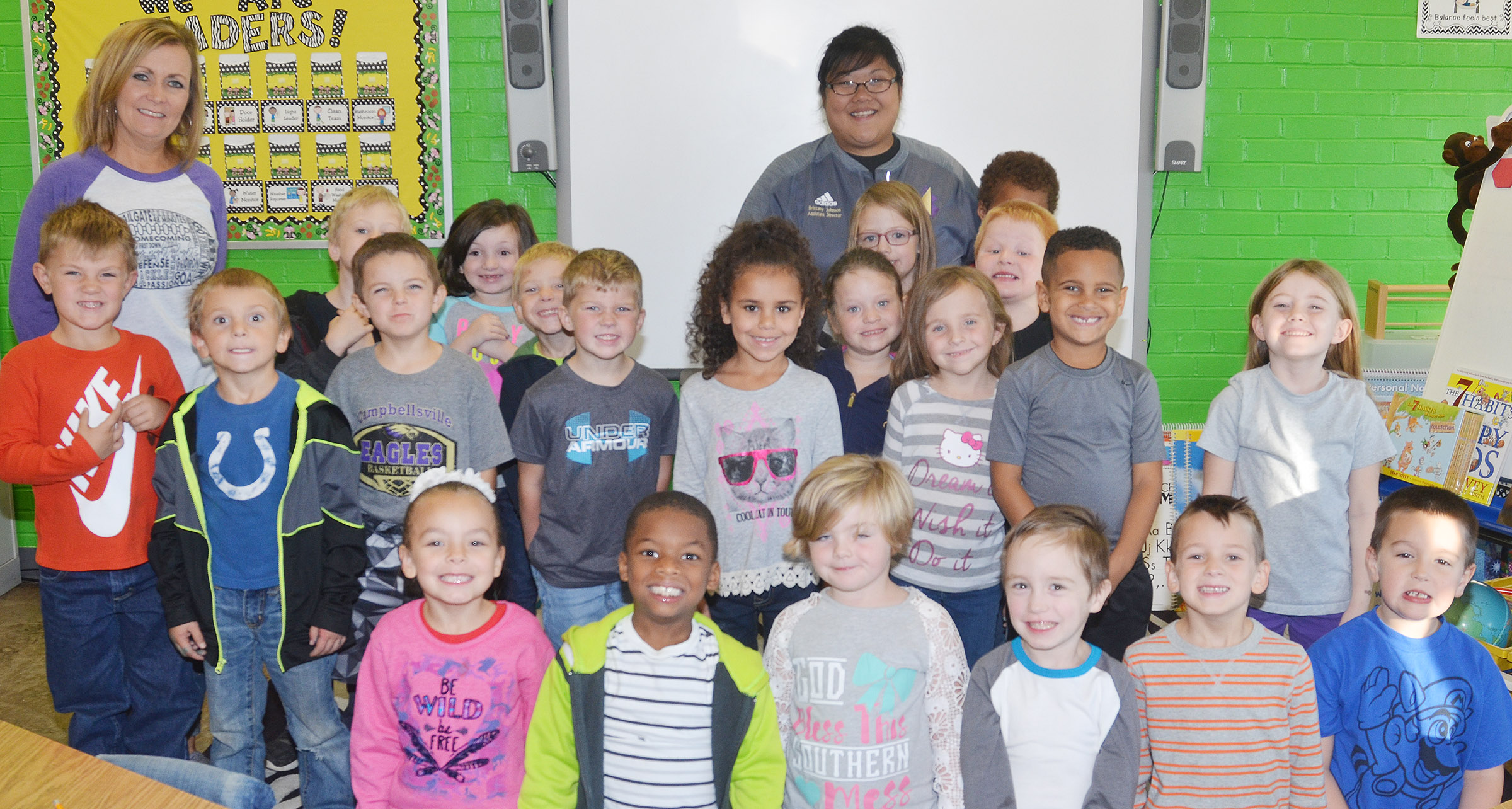 CES kindergarteners in Lisa Wiseman's class wear white and gray for Color Week.