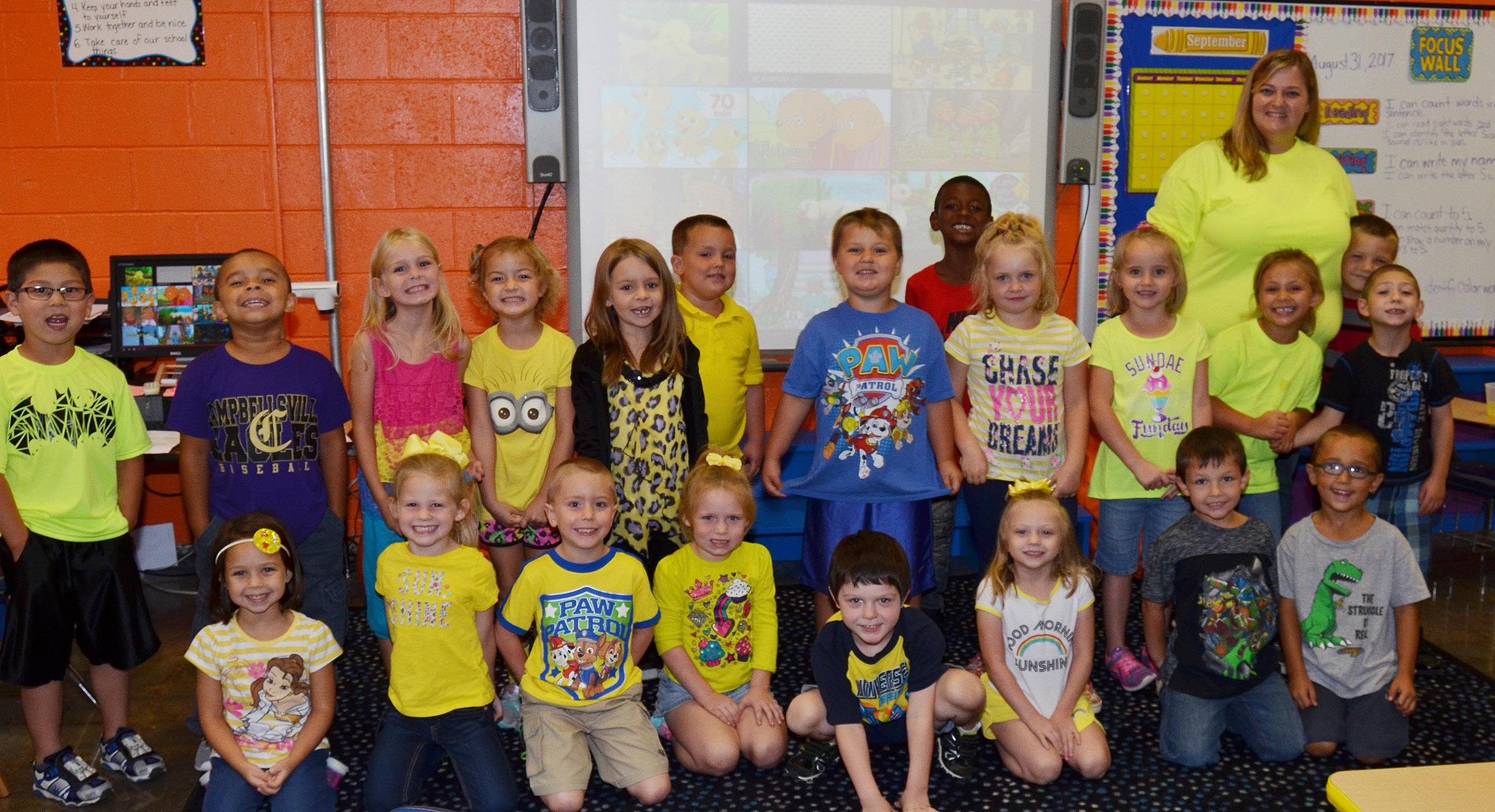 CES kindergarteners in Kimberly Clark's class wear yellow for Color Week.