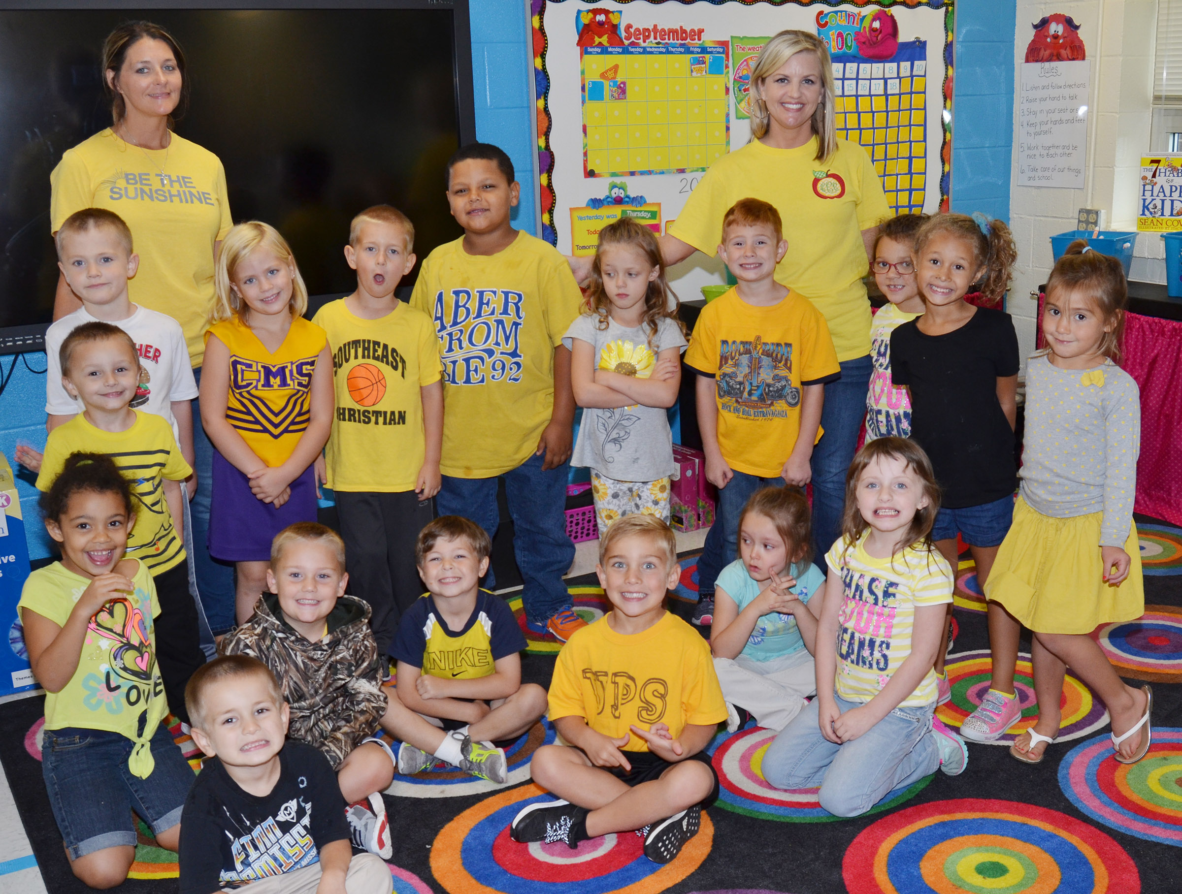 CES kindergarteners in Leanna Cundiff's class wear yellow for Color Week.