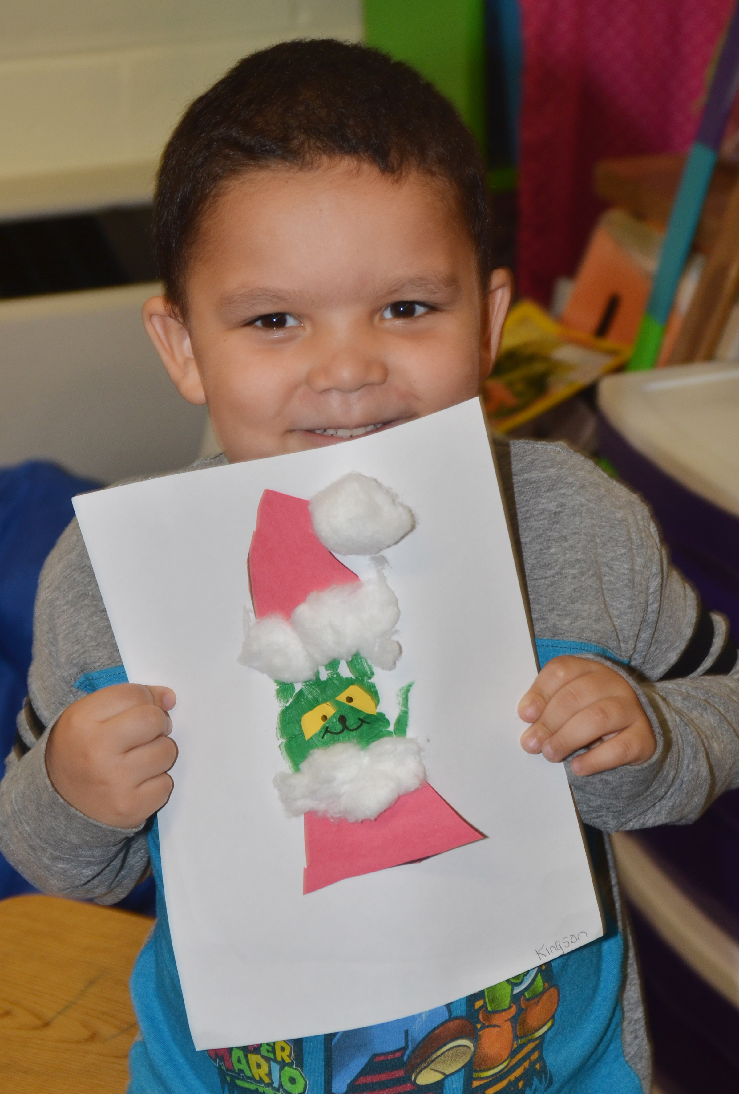 CES kindergartener Kingson Duncan holds his Grinch.