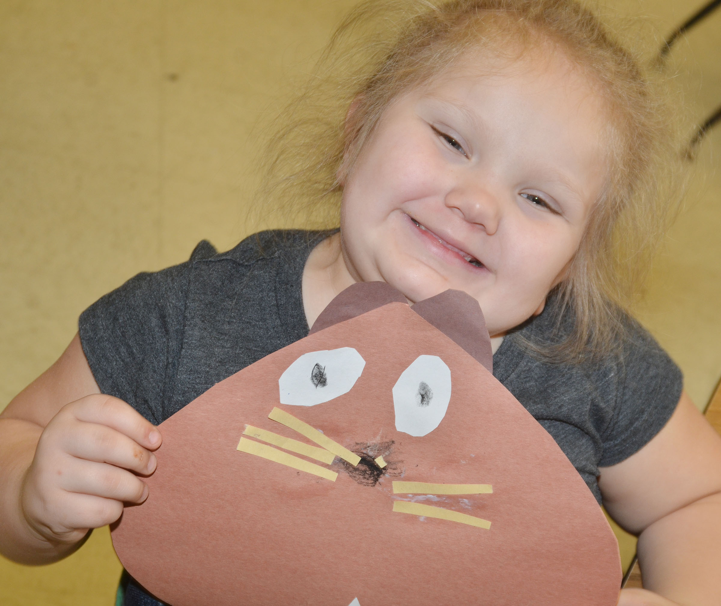 CES kindergartener ReAnna Jeffries holds his groundhog.