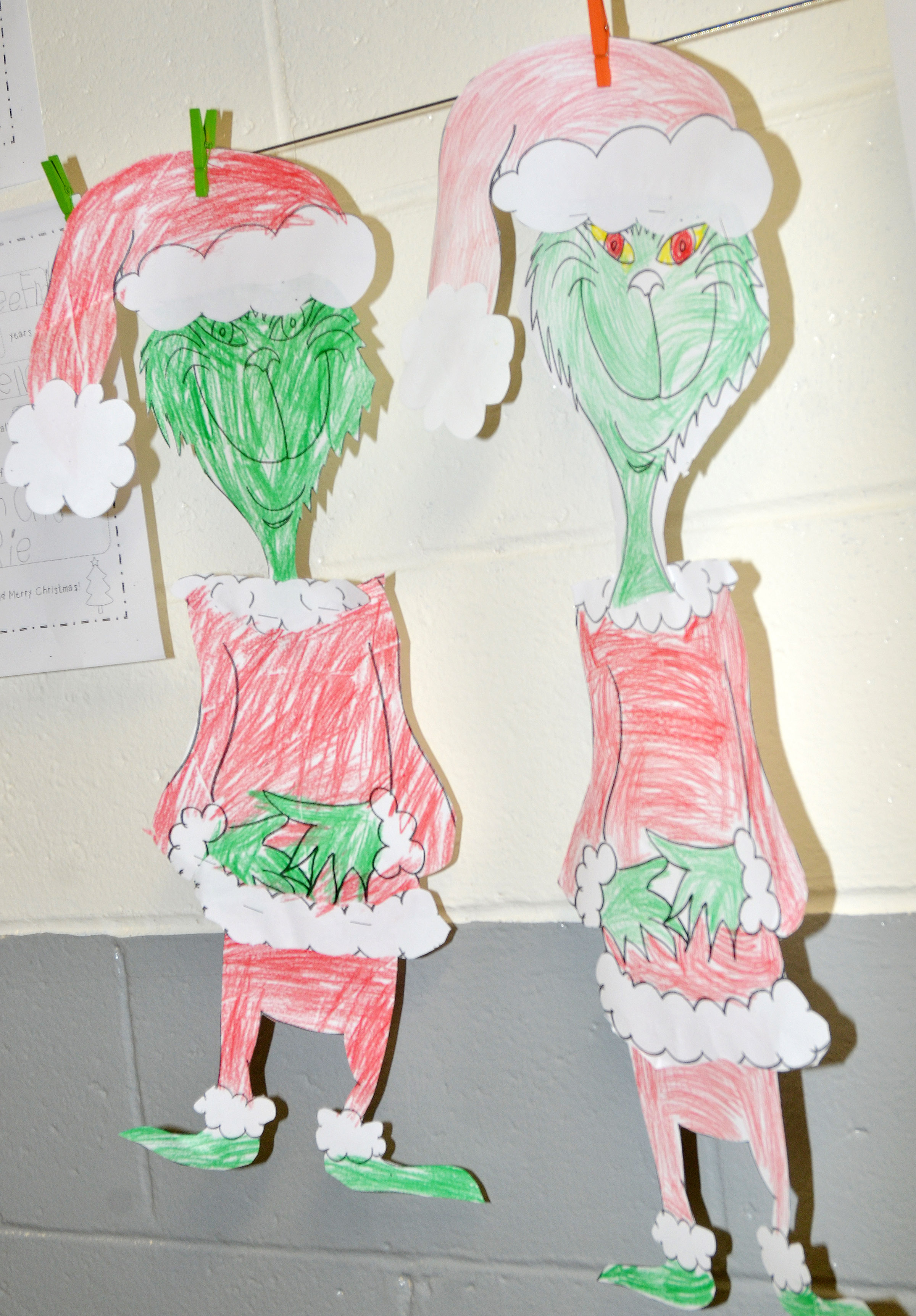 CES kindergarteners colored and glued together these Grinch figures.