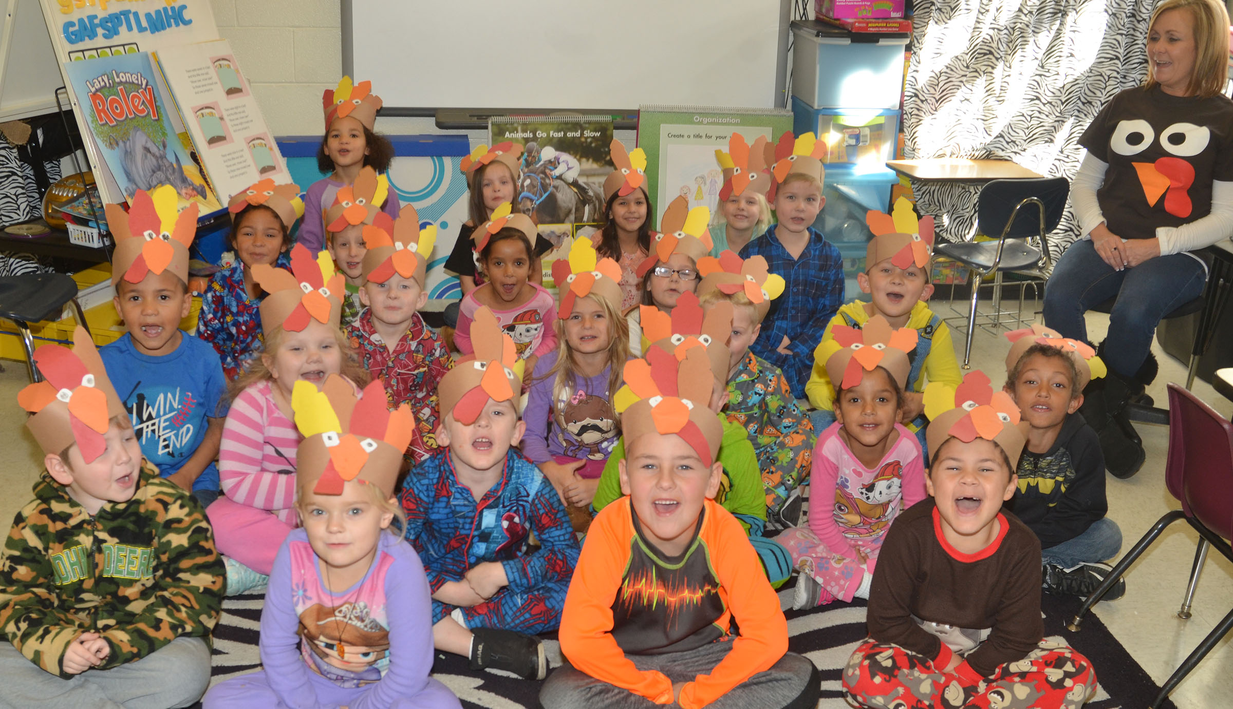 CES kindergarteners in Lisa Wiseman's class wear their turkey hats.