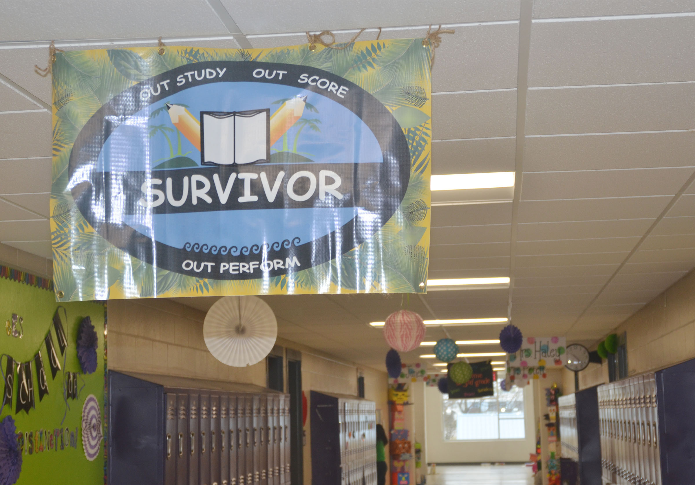 "This year's testing theme at Campbellsville Elementary School is ""Survivor: Out Study, Out Score, Out Perform."""