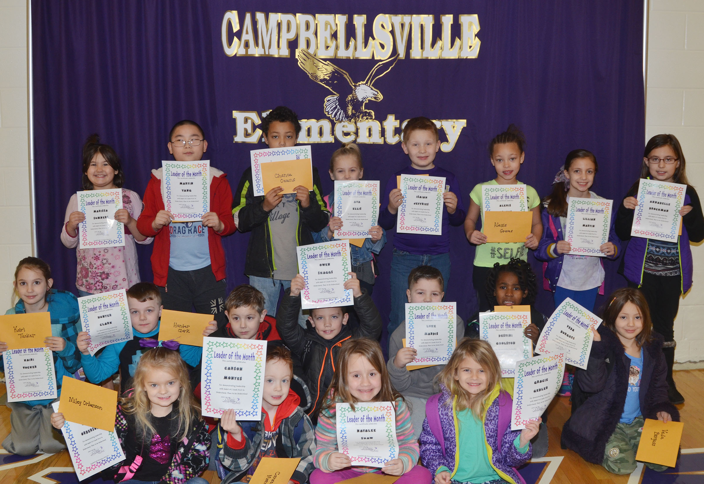 From left, front, are kindergarteners Miley Orberson, Carson Montes, Natalee Shaw and Gracie Gebler. Second row, second-grader Kairi Tucker, first-grader Hunter Clark, second-grader Seamus Huber, first-graders Owen Skaggs, Luke Mardis and Destini Gholston and kindergartener Veda Burgess. Back, second-grader Marissa Sumners, third-graders Martin Yang and Chance Owens, second-grader Ava Ellis, third-graders Isaiah Jeffries and Alexis Graves, first-grader Lillian Martin and second-grader Annabelle Brockman. Third-grader Cody Tamez is absent from the photo.