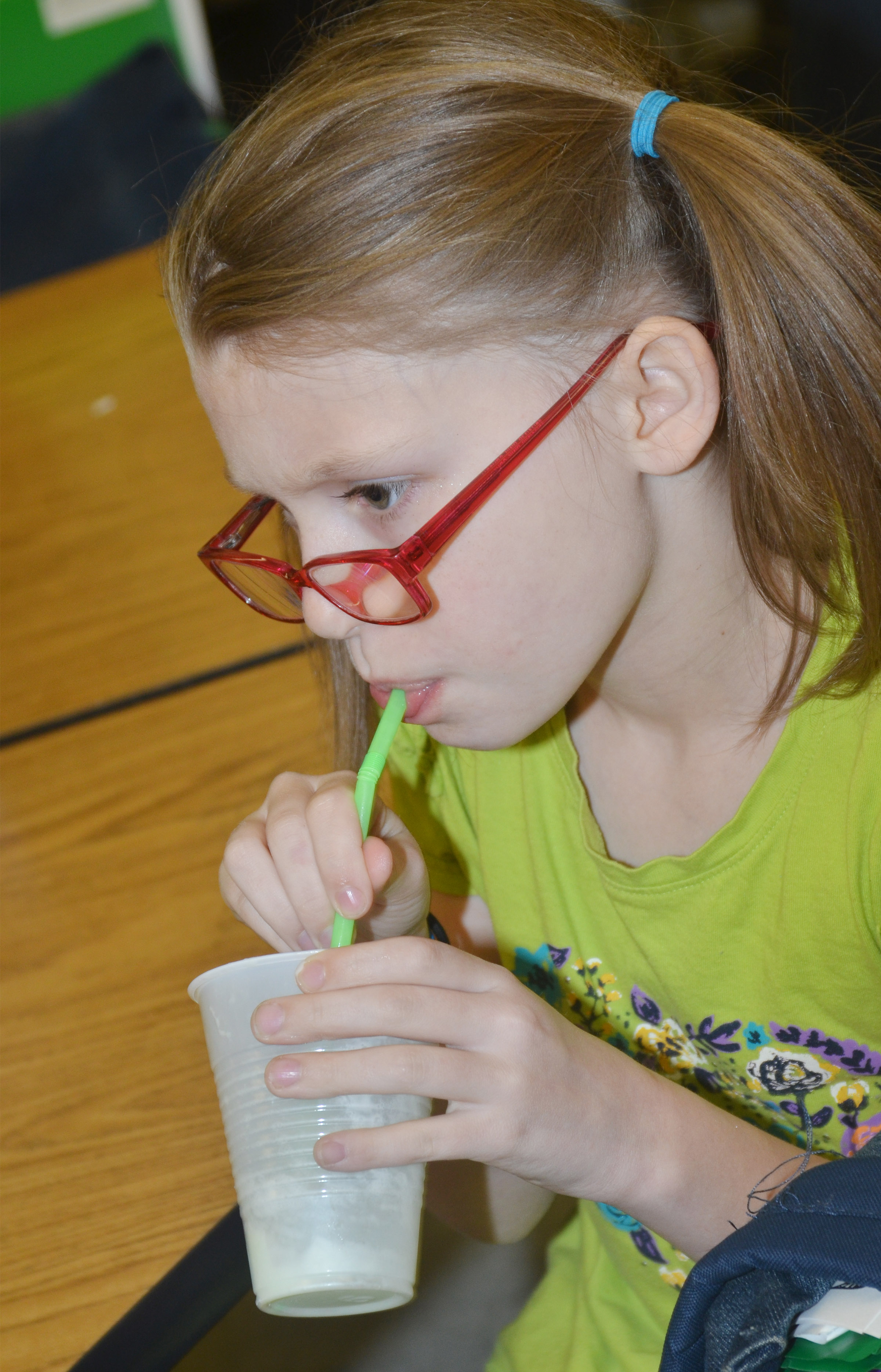 CES second-grader Sammantha Wooley enjoys her leprechaun float.