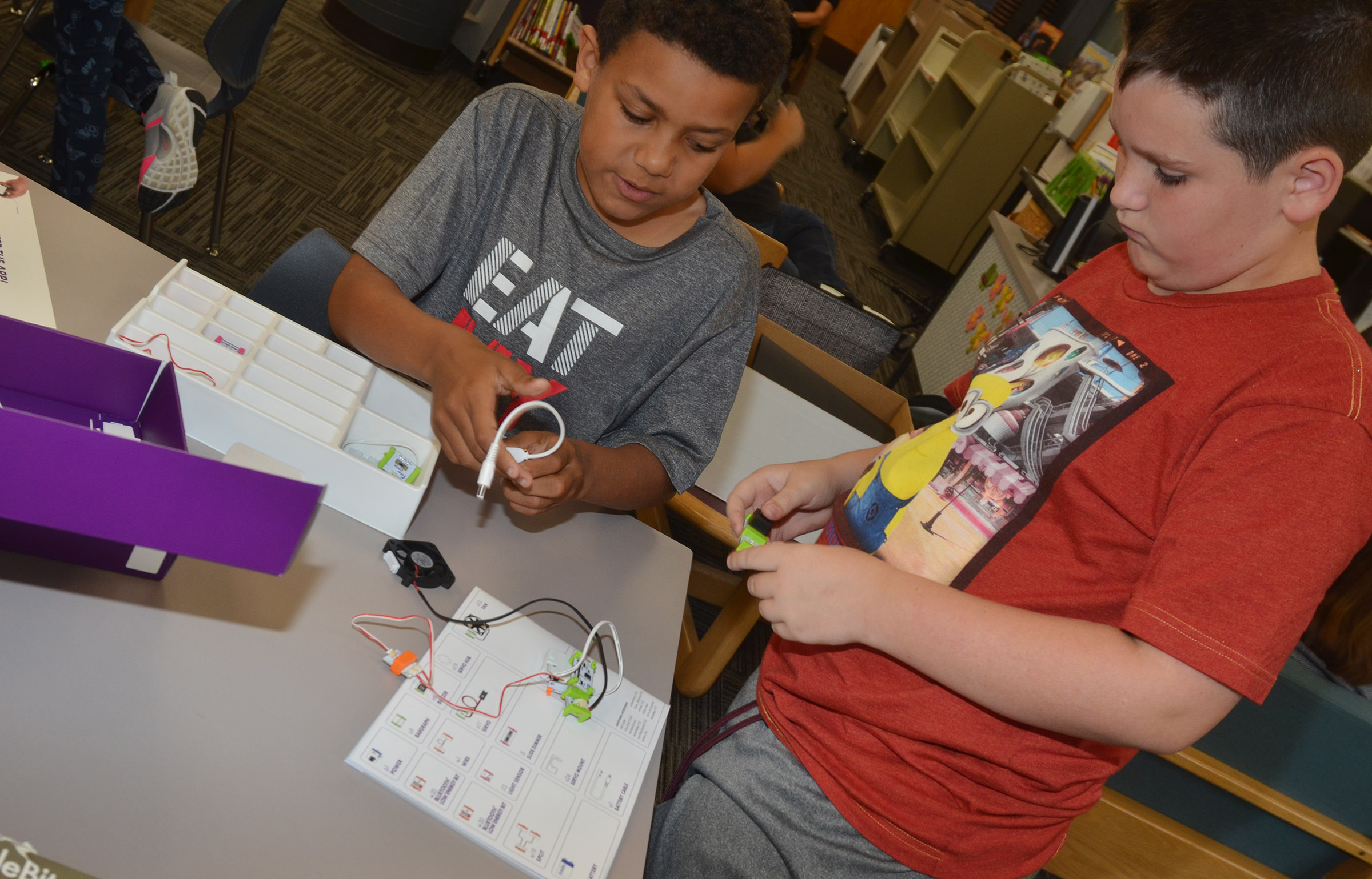CES fourth-graders Christian Hart, at left, and Ethan Garrison work together.