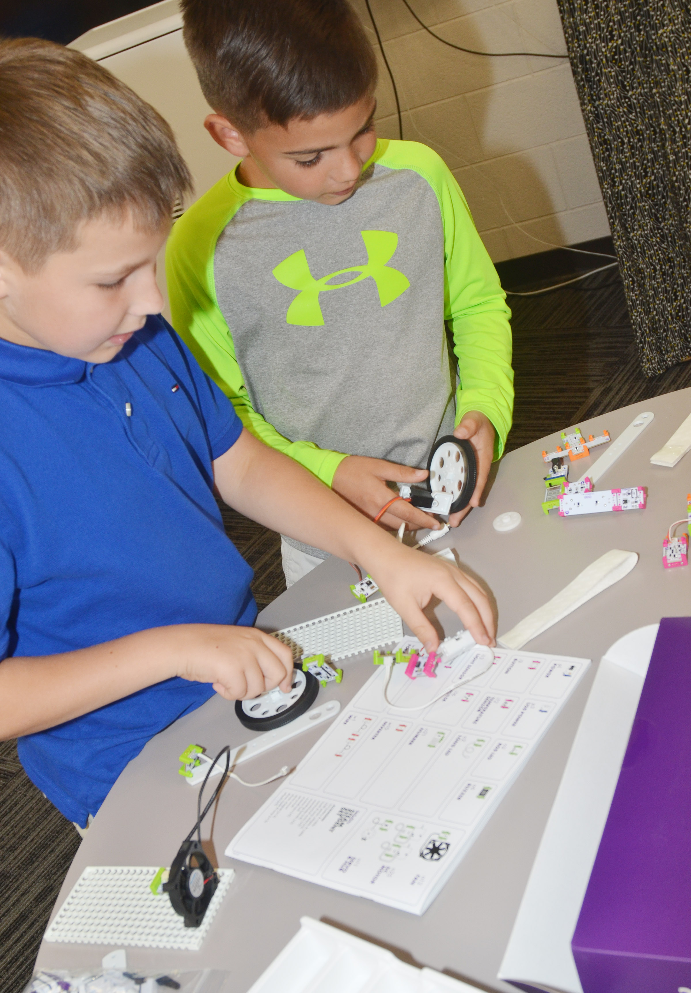 CES fourth-graders Grayson Dooley, at left, and Easton Williams work together.