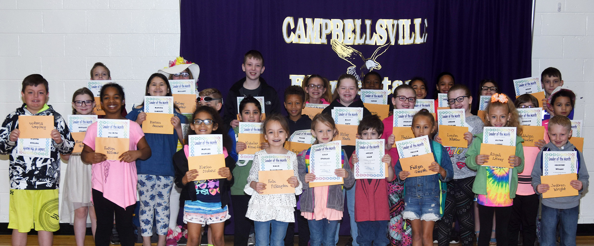 From left, front, are fourth-grader KaMiya Williams, first-grader Marlee Dickens, kindergarteners Kalie Pilkington, Lilly Spencer, Josiah Dean and Fallyn Smith and first-graders Aliyah Litsey and Jackson Wright. Second row, third-grader Hayden Maupin, fifth-grader Morgan Spears, third-grader Marissa Sumners, second-graders Dax Gray and Nicholas Almeida, third-grader Rajon Taylor, fifth-grader Miley Hash, second-graders Frehley Whitlow, London Whitlow and Addelyn Dooley and first-grader Aleeya Spaulding. Back, fifth-graders Will Wooley, Mellany Parker and Kaleb Miller, fourth-grader Vivian York, third-grader Jaron Johnson, fourth-graders De'Asia Fisher, Alyssa Knezevic and Raeanna Jefferson and third-grader Aidan Wilson.
