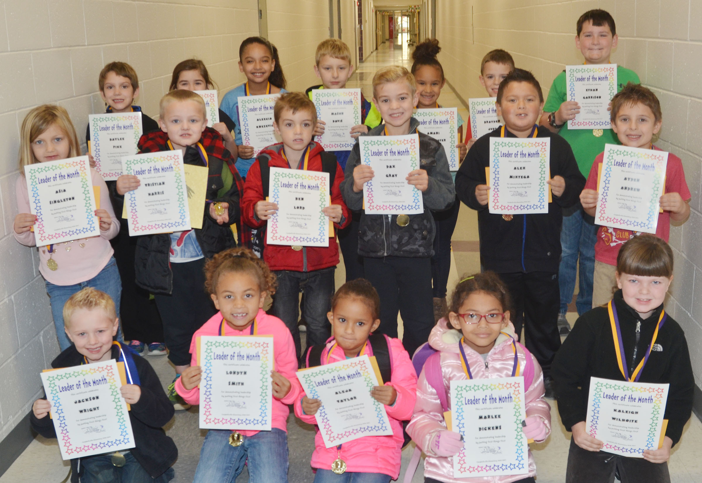 From left, front, are kindergartener Jackson Wright, first-grader Londyn Smith, kindergarteners Aleja Taylor and Marlee Dickens and second-grader Kaleigh Wilhoite. Second row, first-grader Asia Singleton, kindergartener Tristian Harris, first-graders Ben Lord, Dax Gray and Alex Mixtega and kindergartener Ayden Andrew. Back, second-grader Baylee Pike, third-graders Alexis Wolford and Aleecia Knezevic, second-grader Mason Davis, first-grader Amani Bridgewater and third-graders Brayden Judd and Ethan Garrison. Not pictured are second-graders Rajon Taylor and Alex Wilson.