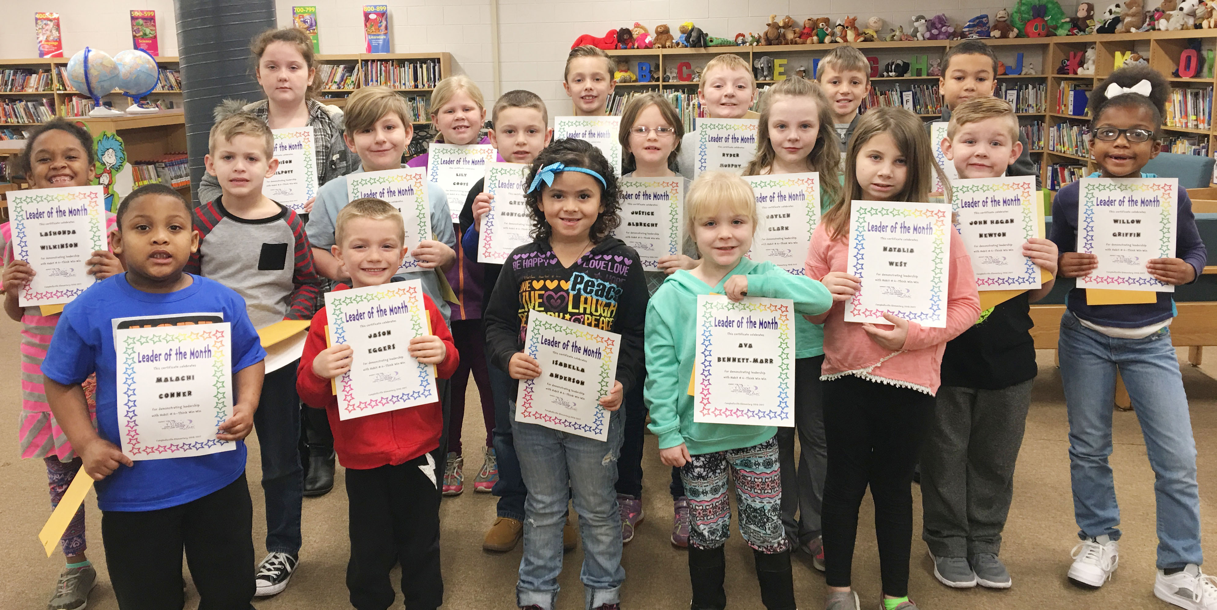 From left, front, are kindergarteners Malachi Conner, Jason Eggers, Isabella Anderson and Ava Bennett-Marr and second-grader Natalia West. Second row, second-grader Lashonda Wilkinson, first-graders Logan Weddle and Tommy Caswell, second-grader Greyson Montgomery, first-grader Justice Albrecht, third-grader Jaylen Clark, kindergartener John Hagan Newton and first-grader Willow Griffin. Back, third-grader Madison Philpott, second-grader Lily Coots, second-grader Guy Proctor and third-graders Ryder Murphy, Cameron Taylor and Zarek Stone. Absent from the photo is first-grader Frehley Whitlow.