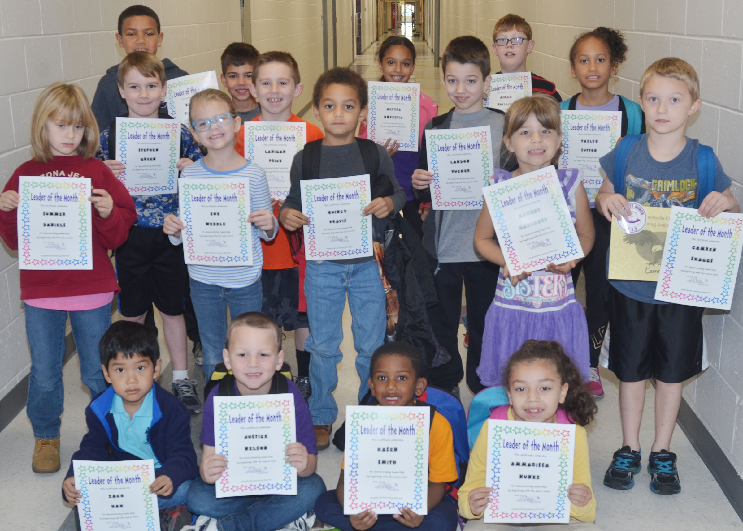 From left, front, are first-grader Zach Hak, kindergarteners Justice Nelson and Kasen Smith and first-grader Ammarissa Nunez. Second row, first-grader Summer Daniels, kindergarteners Zoe Weddle and Quincy Travis, first-grader Kenady Gabehart and second-grader Camren Skaggs. Third row, second-graders Stephen Green and Lanigan Price, third-grader Landon Tucker and second-grader Yazlyn Sutton. Back, third-graders Christian Hart, Easton Williams, Alyssa Knexevic and Aidan Phillips. Absent from the photo are first-grader Nadia Taylor and second-grader Evelyn Stancill.